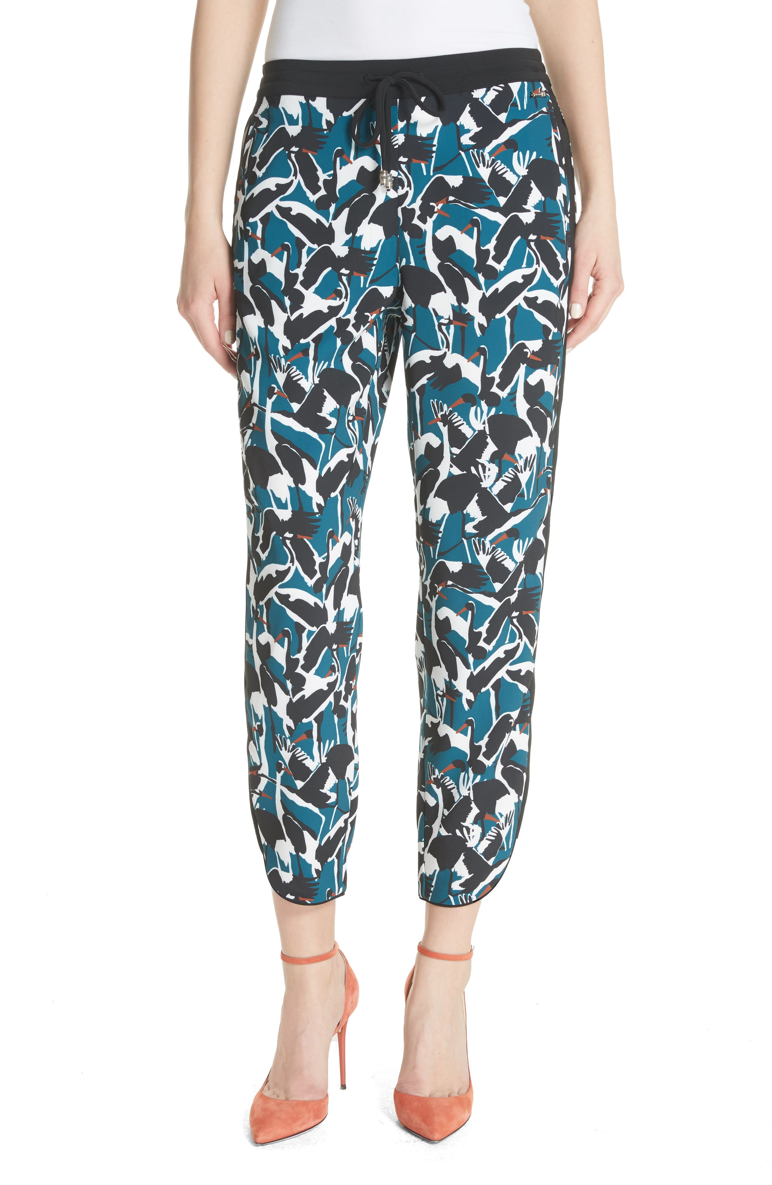 Colour by Numbers Print Jogger Pants,                         Main,                         color, Teal