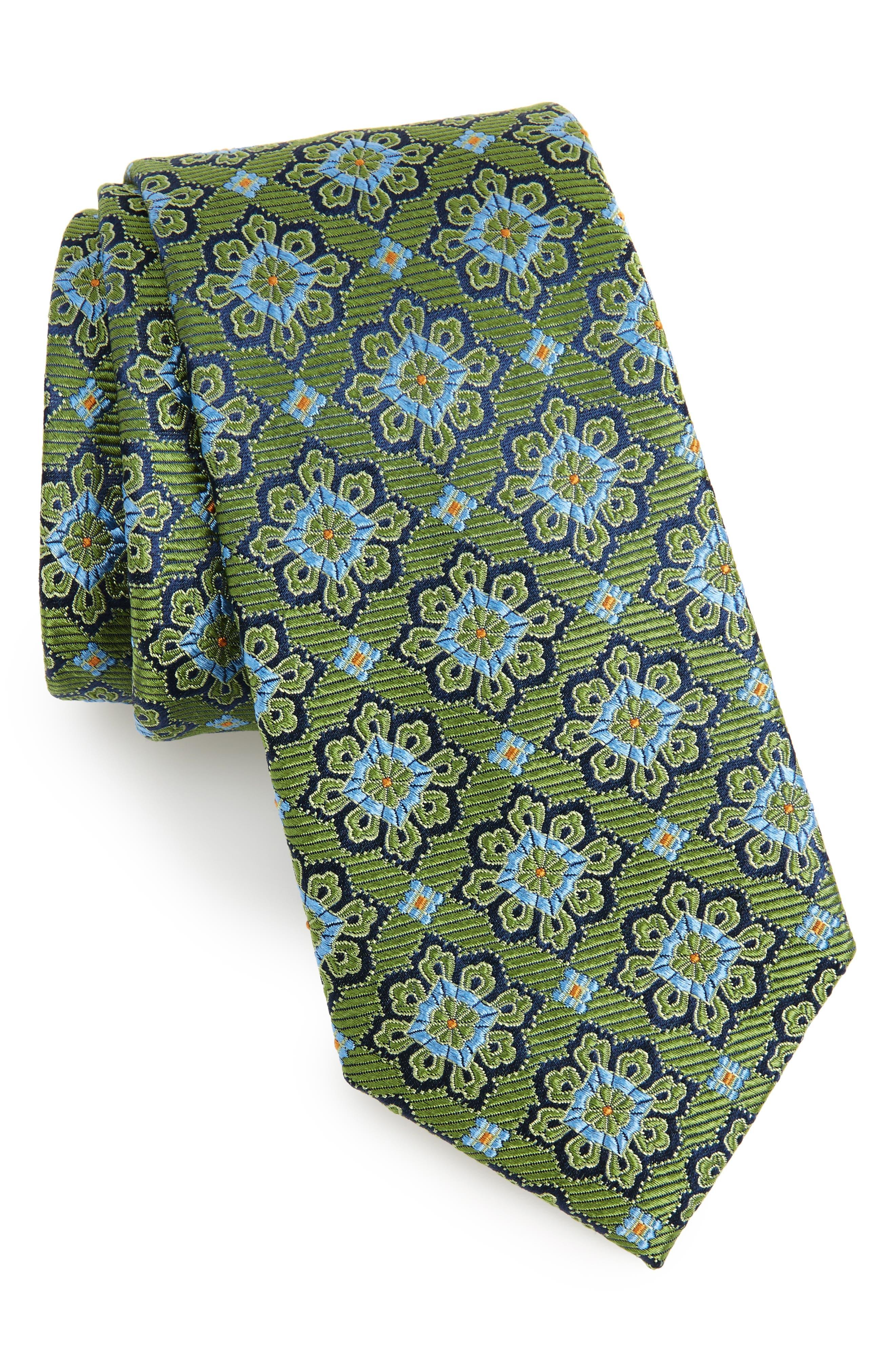Cleo Medallion Silk Tie,                         Main,                         color, Olive