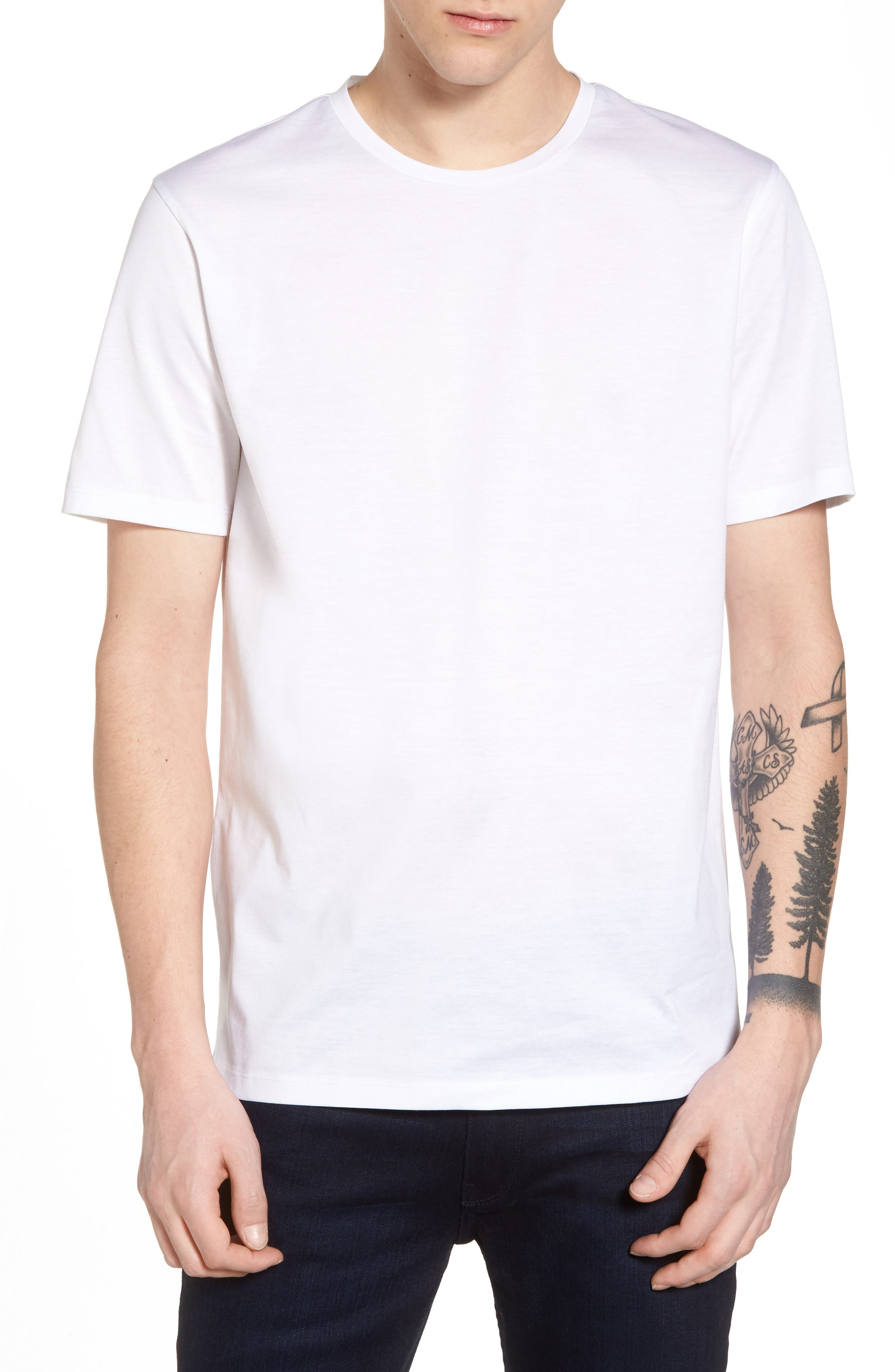 Mercerized Cotton Crewneck T-Shirt,                             Main thumbnail 1, color,                             White