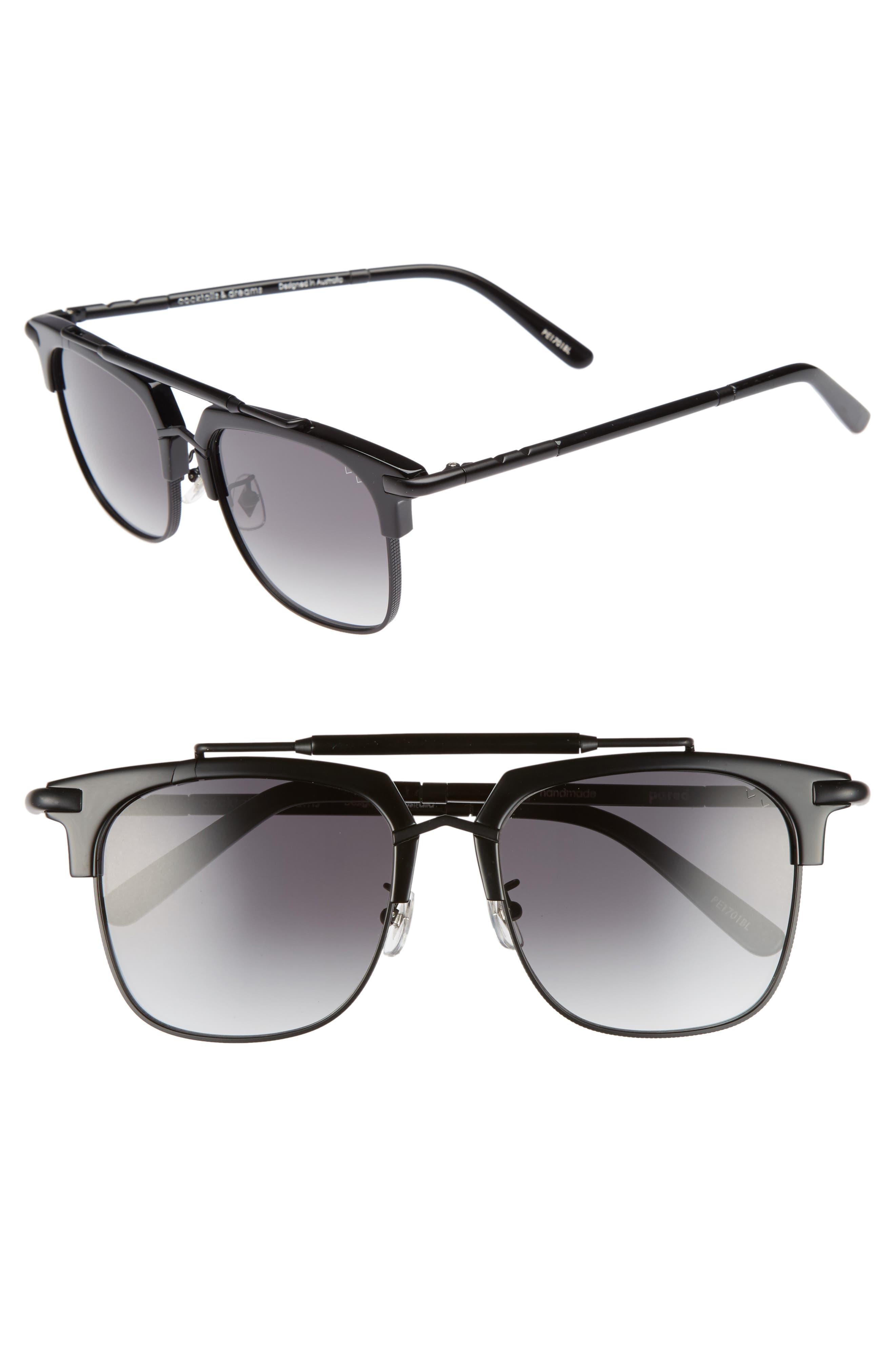 Cocktails & Dreams 53mm Sunglasses,                         Main,                         color, Black/ Matte Black/ Grey