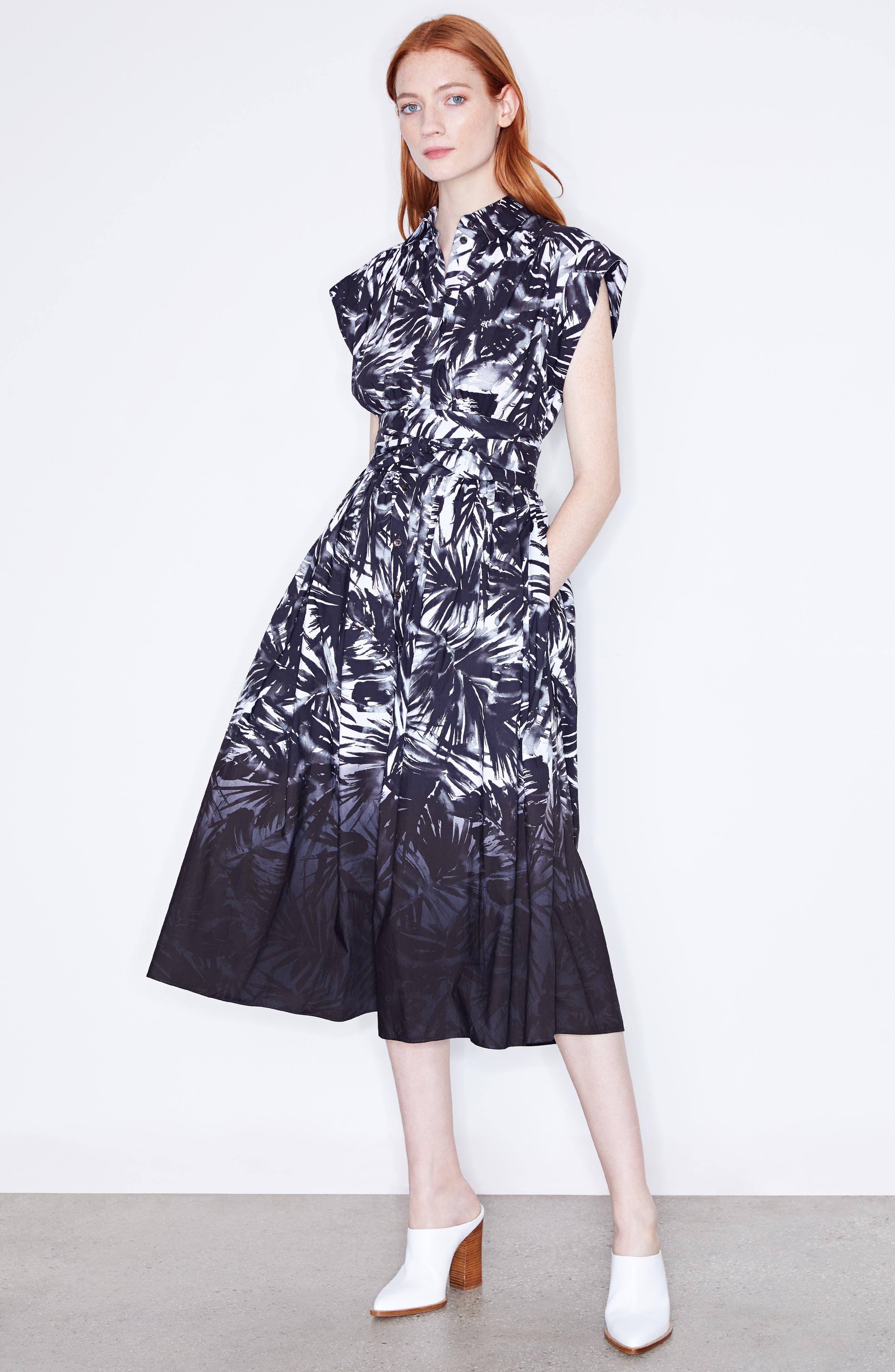 Dip Dye Wrap Waist Shirtdress,                             Alternate thumbnail 2, color,                             Black Multi