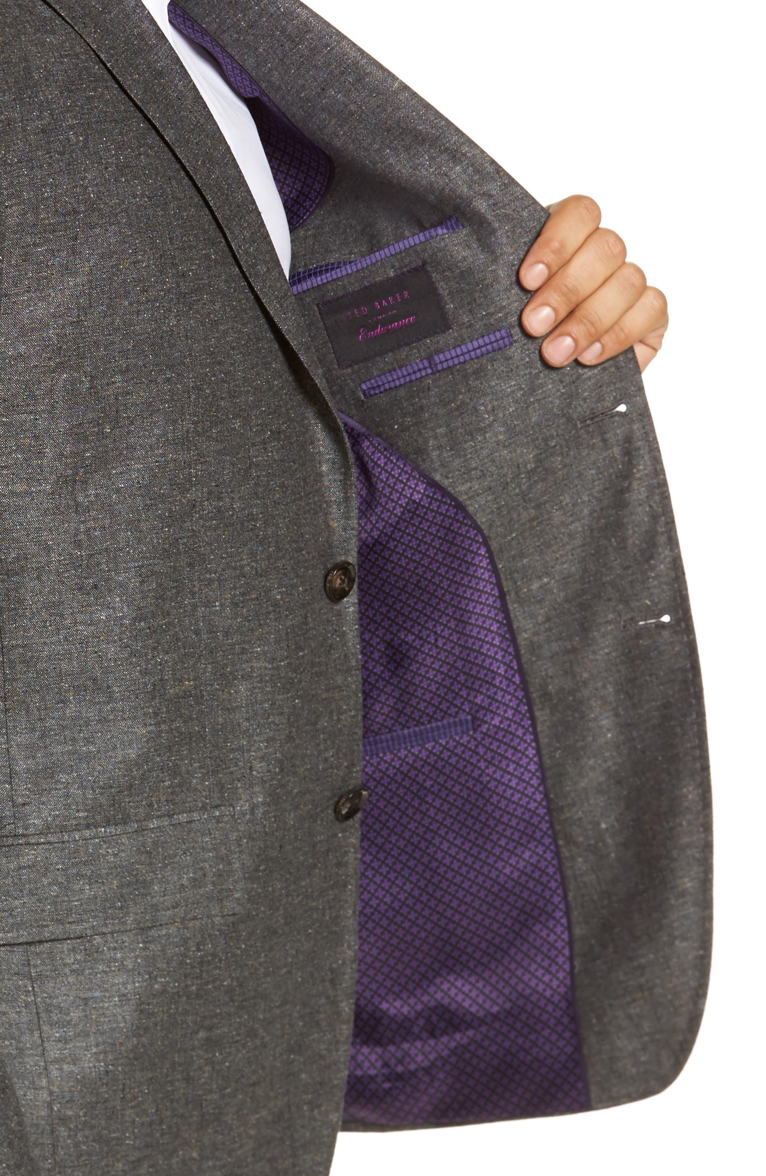 Konan Trim Fit Silk & Linen Blazer,                             Alternate thumbnail 4, color,                             Grey