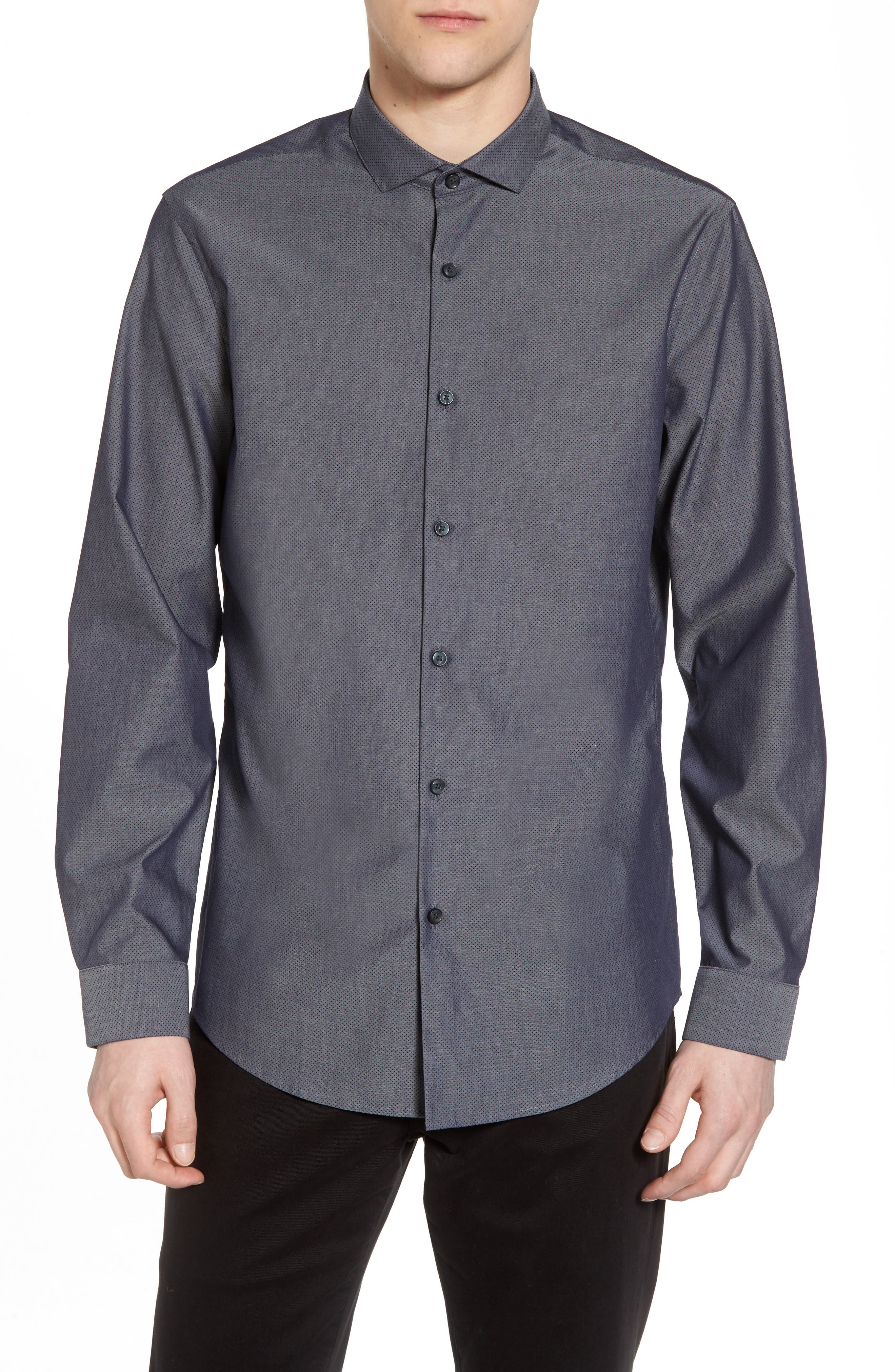 Slim Fit Solid Sport Shirt,                         Main,                         color, Navy Blue Chambray Dot