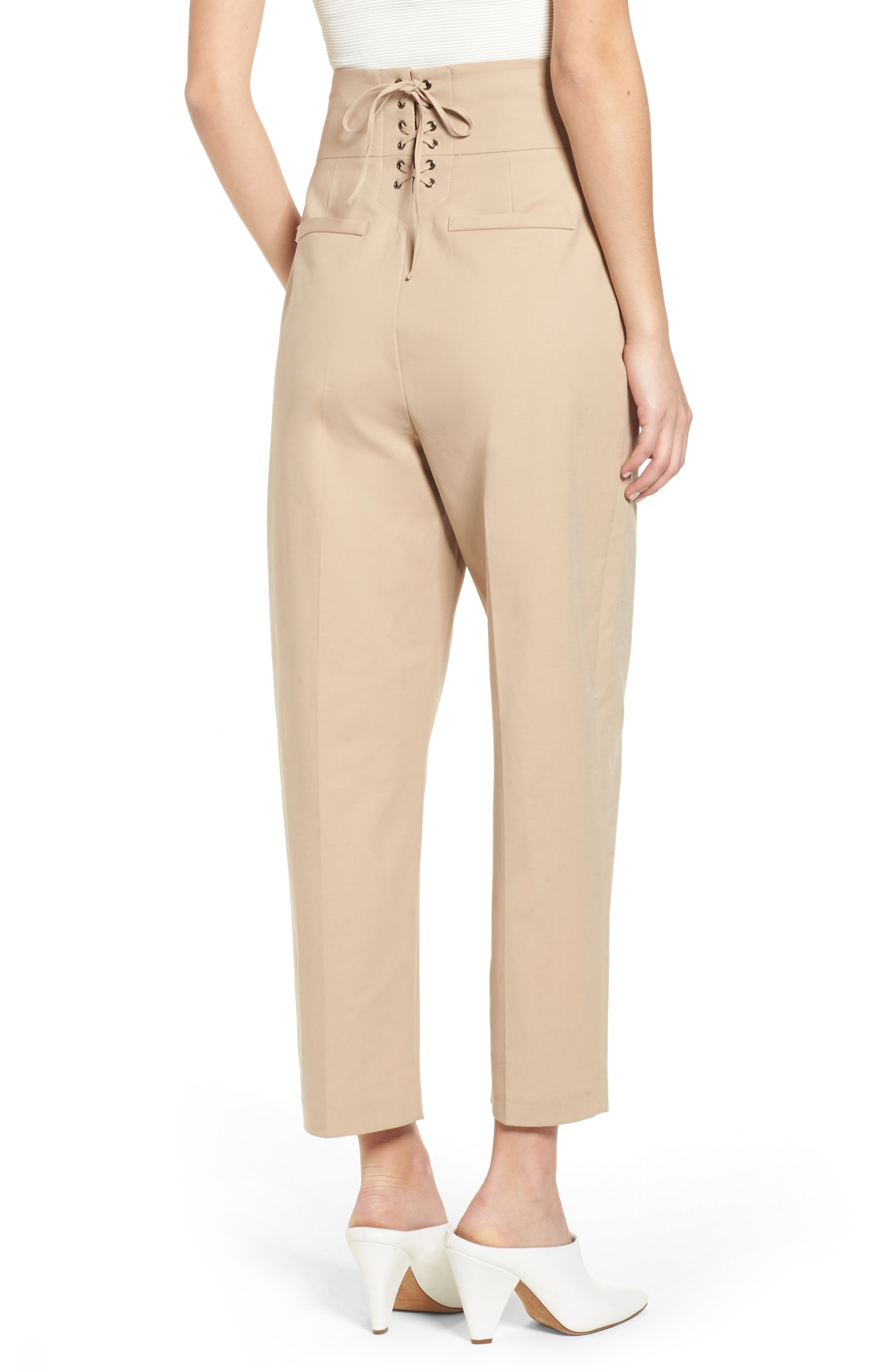 Lace Back Trousers,                             Alternate thumbnail 2, color,                             Camel