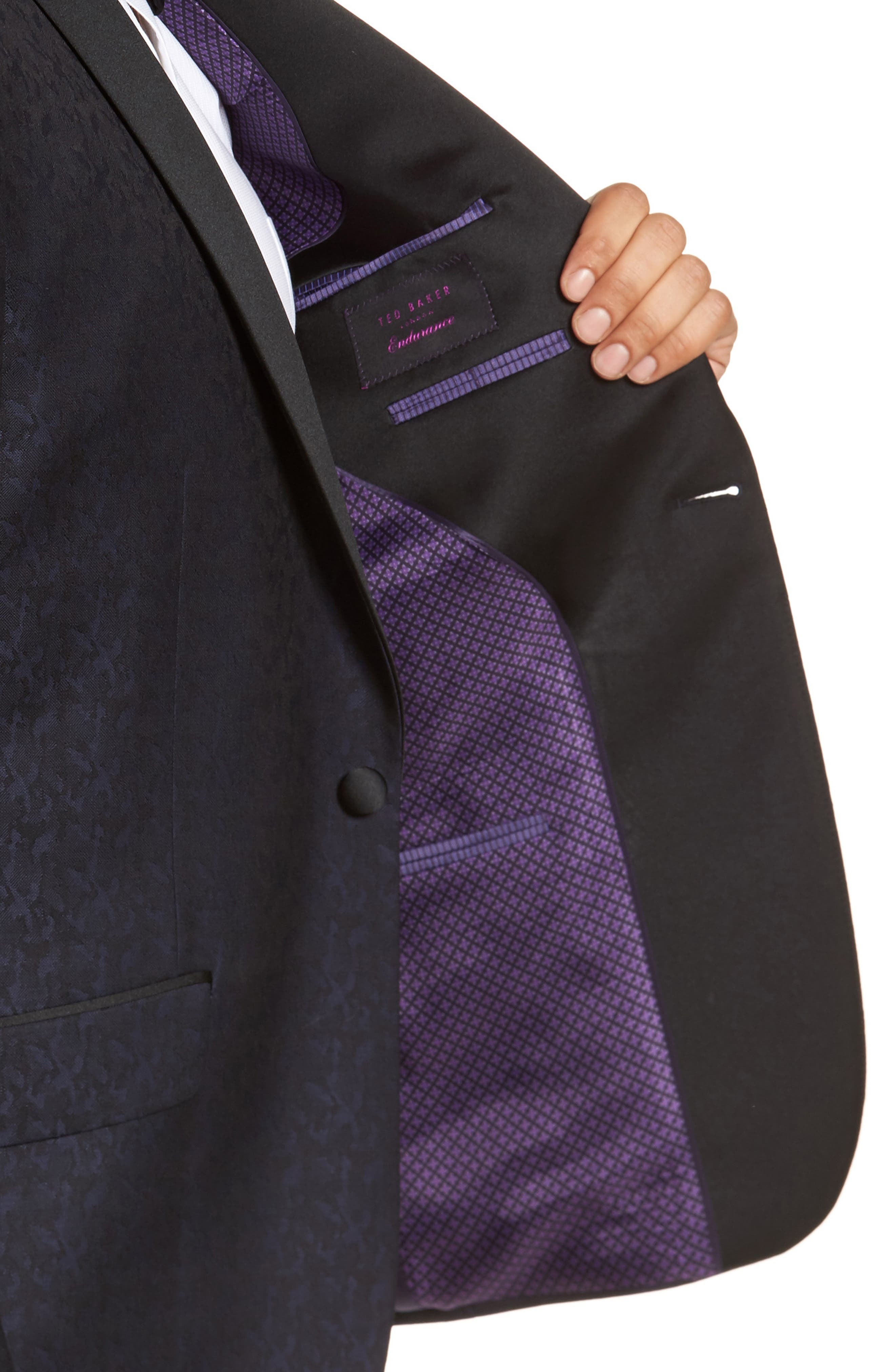 Josh Trim Fit Wool Dinner Jacket,                             Alternate thumbnail 4, color,                             Navy
