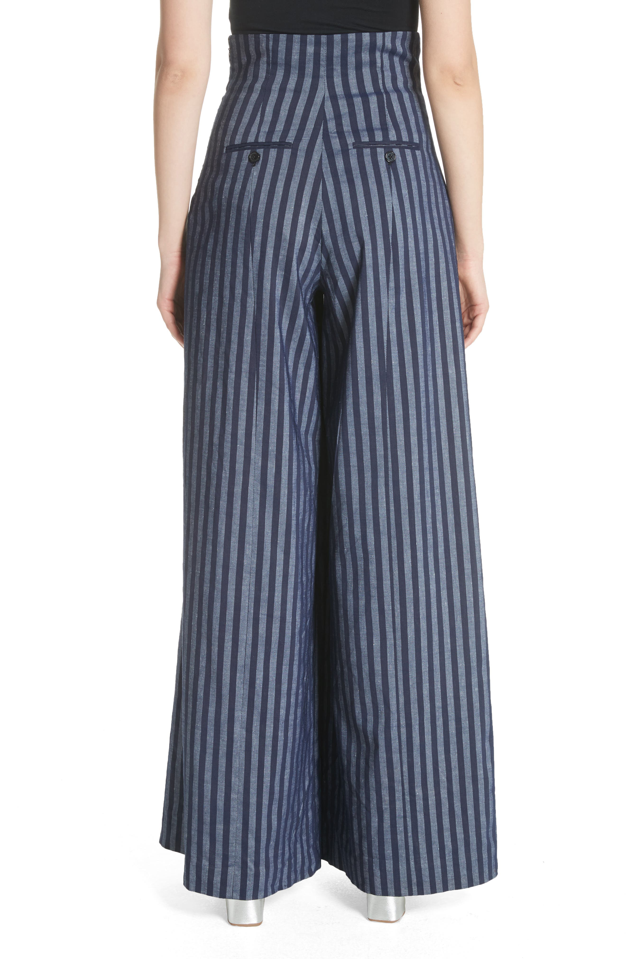 Stripe Wide Leg Pants,                             Alternate thumbnail 2, color,                             India Ink