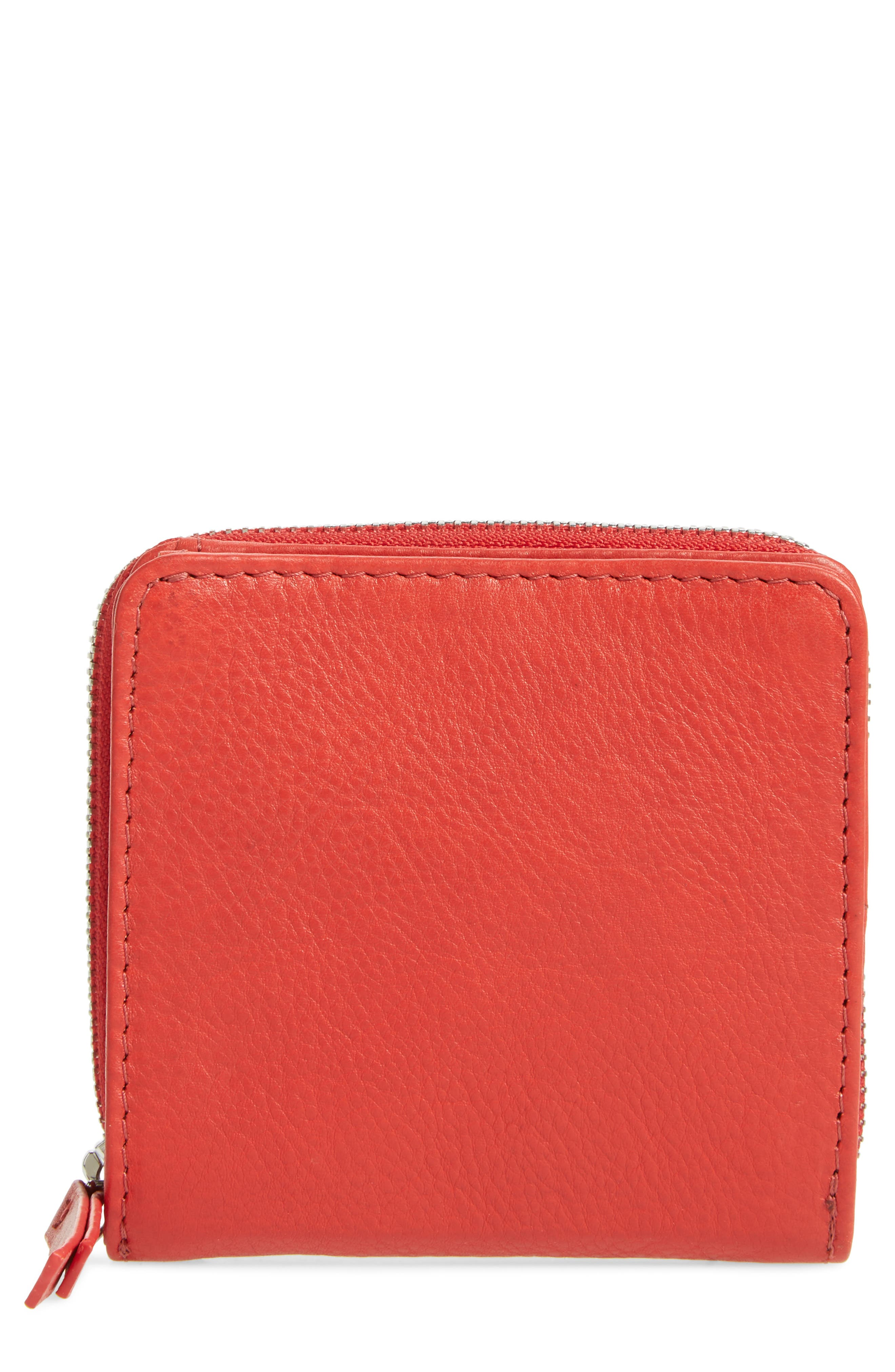 Leather Zip Around Wallet,                             Main thumbnail 1, color,                             Red