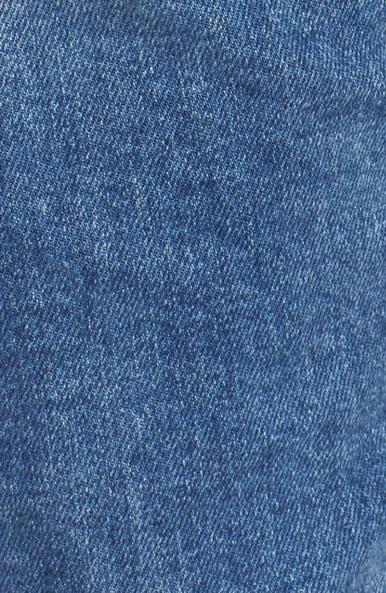 x Gigi Hadid Speed Distressed Ankle Zip Jeans,                             Alternate thumbnail 6, color,                             Mid Blue
