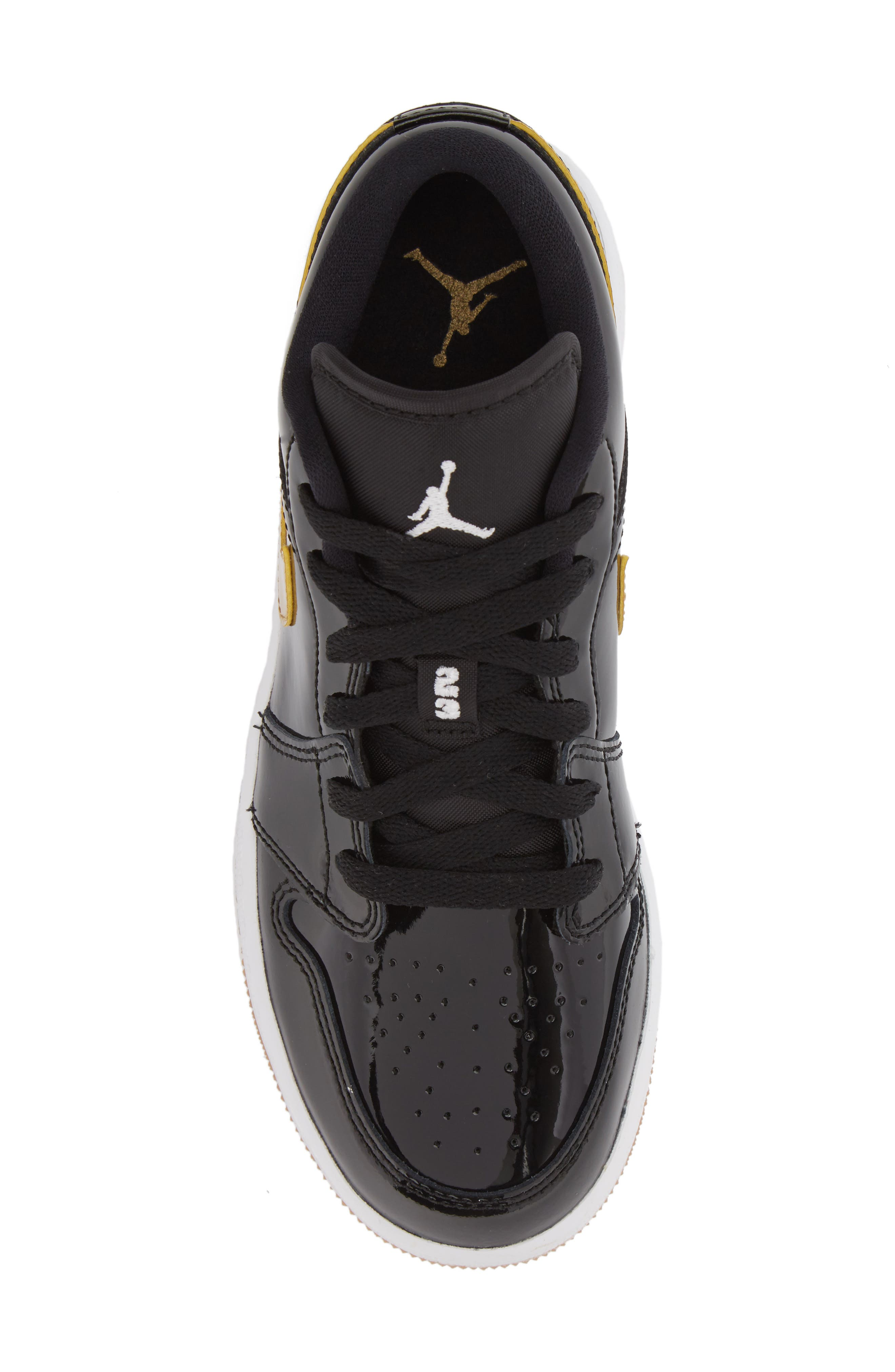 Nike 'Jordan 1 Low' Basketball Shoe,                             Alternate thumbnail 5, color,                             Black/ Metallic Gold/ White