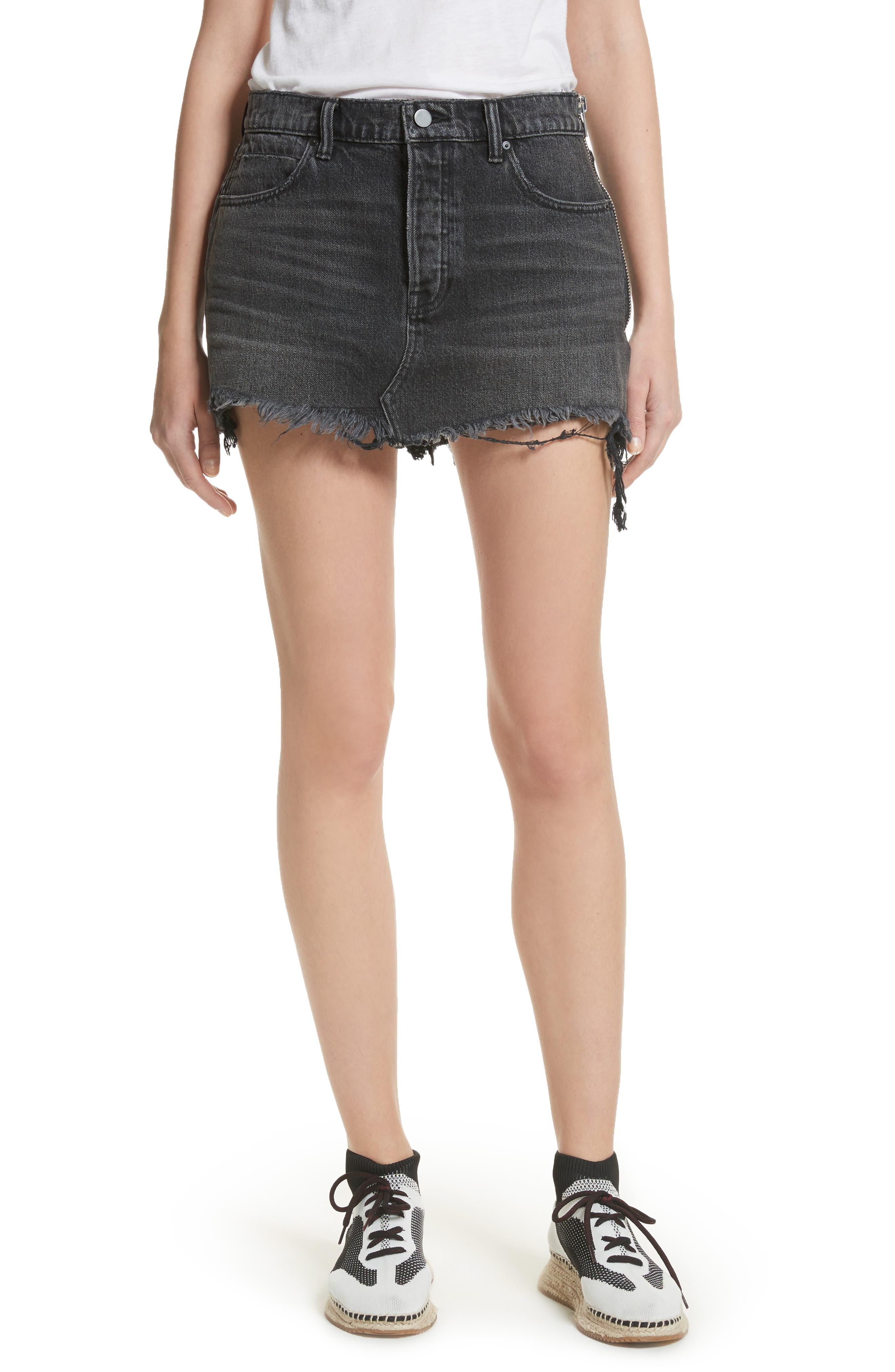 Alternate Image 1 Selected - T by Alexander Wang Destroyed Hem Denim Skirt