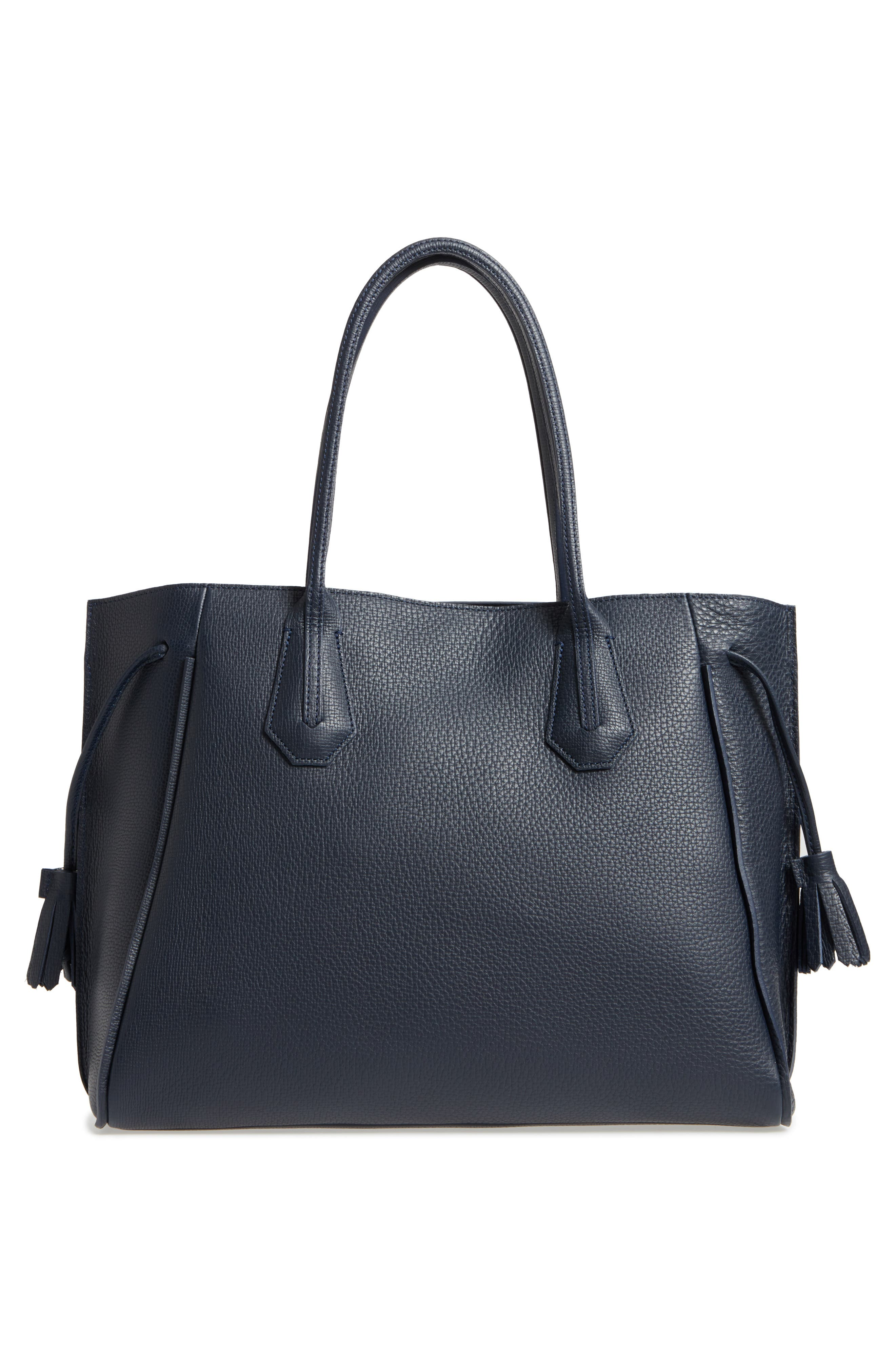 'Penelope' Tassel Drawstring Leather Tote,                             Alternate thumbnail 3, color,                             Midnight