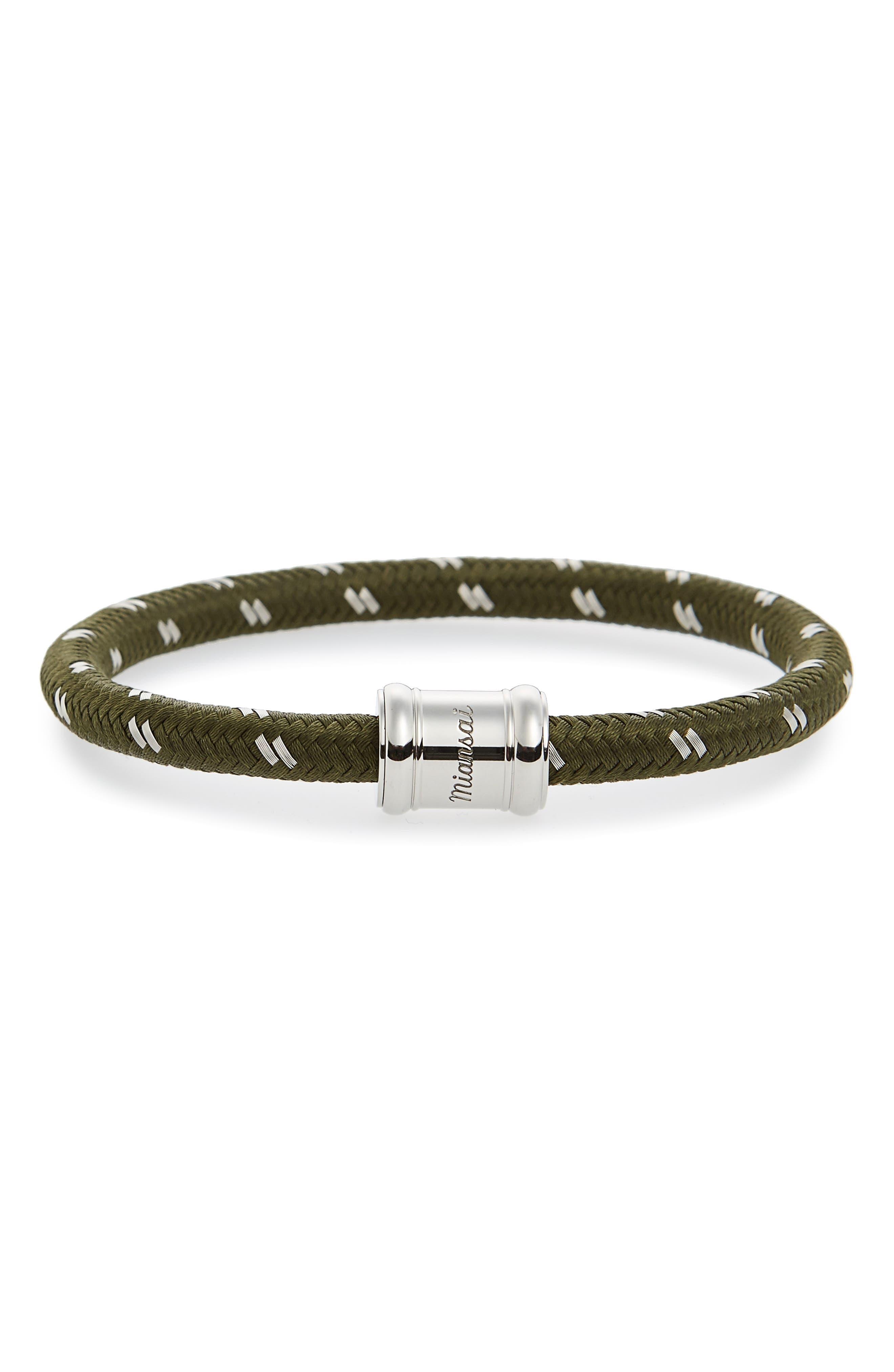 Barrel Casing Nylon Woven Bracelet,                         Main,                         color, Verde/ Steel