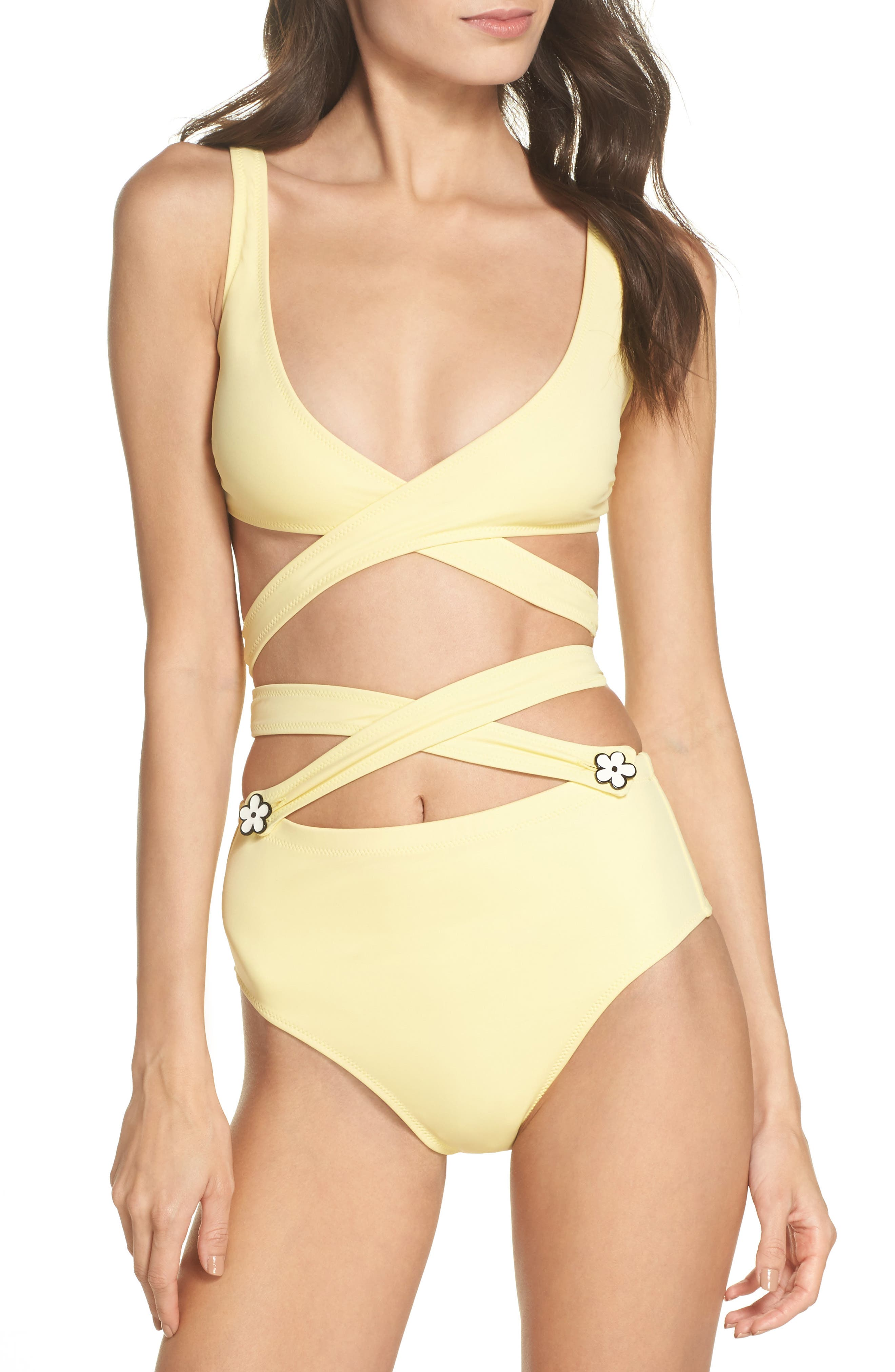 The Lauren Strappy One-Piece Swimsuit,                             Main thumbnail 1, color,                             Yellow