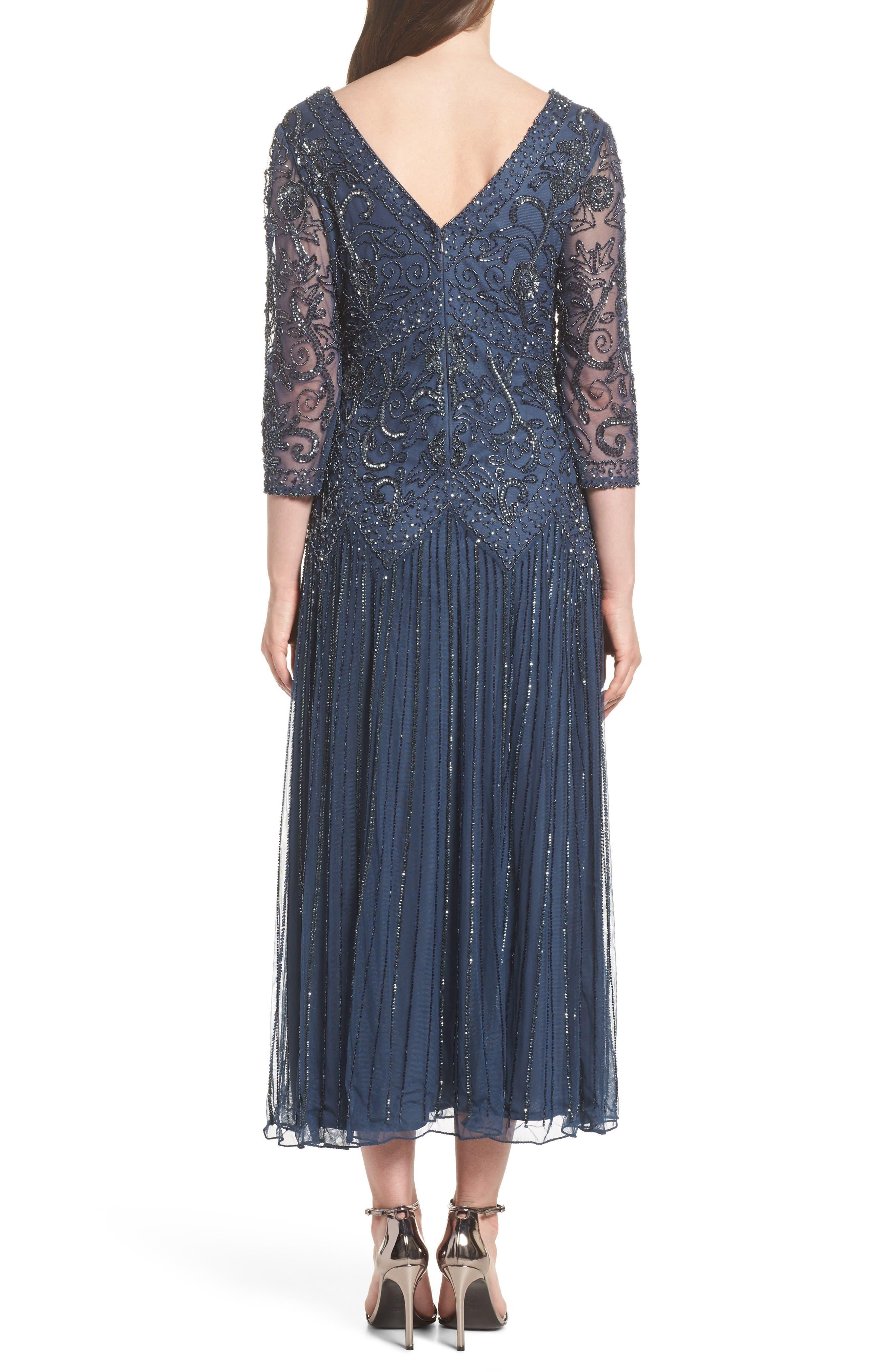 Beaded Mesh Tea Length Dress,                             Alternate thumbnail 2, color,                             Blue