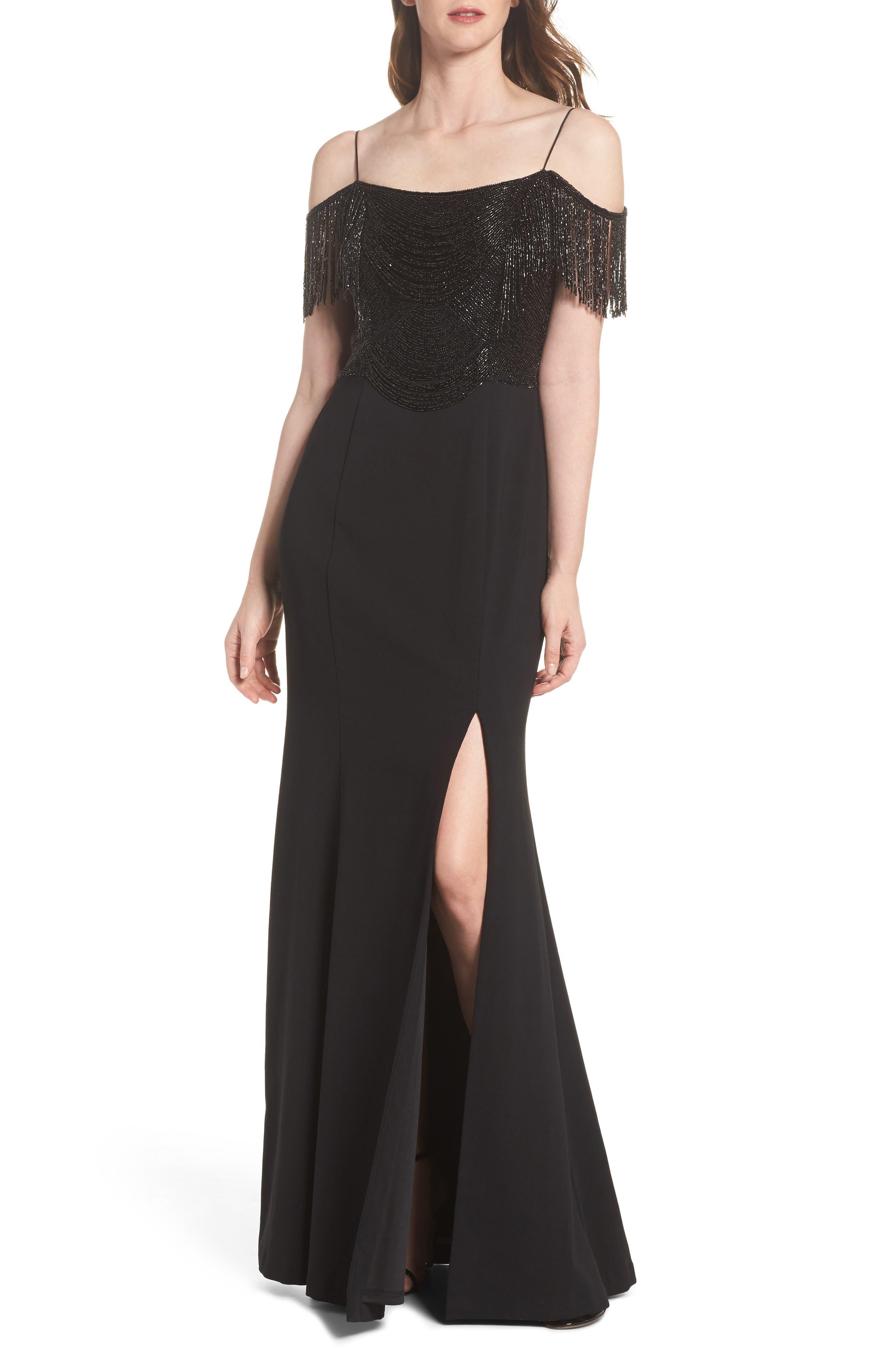 Fringe Cold Shoulder Crepe Gown,                             Main thumbnail 1, color,                             Black