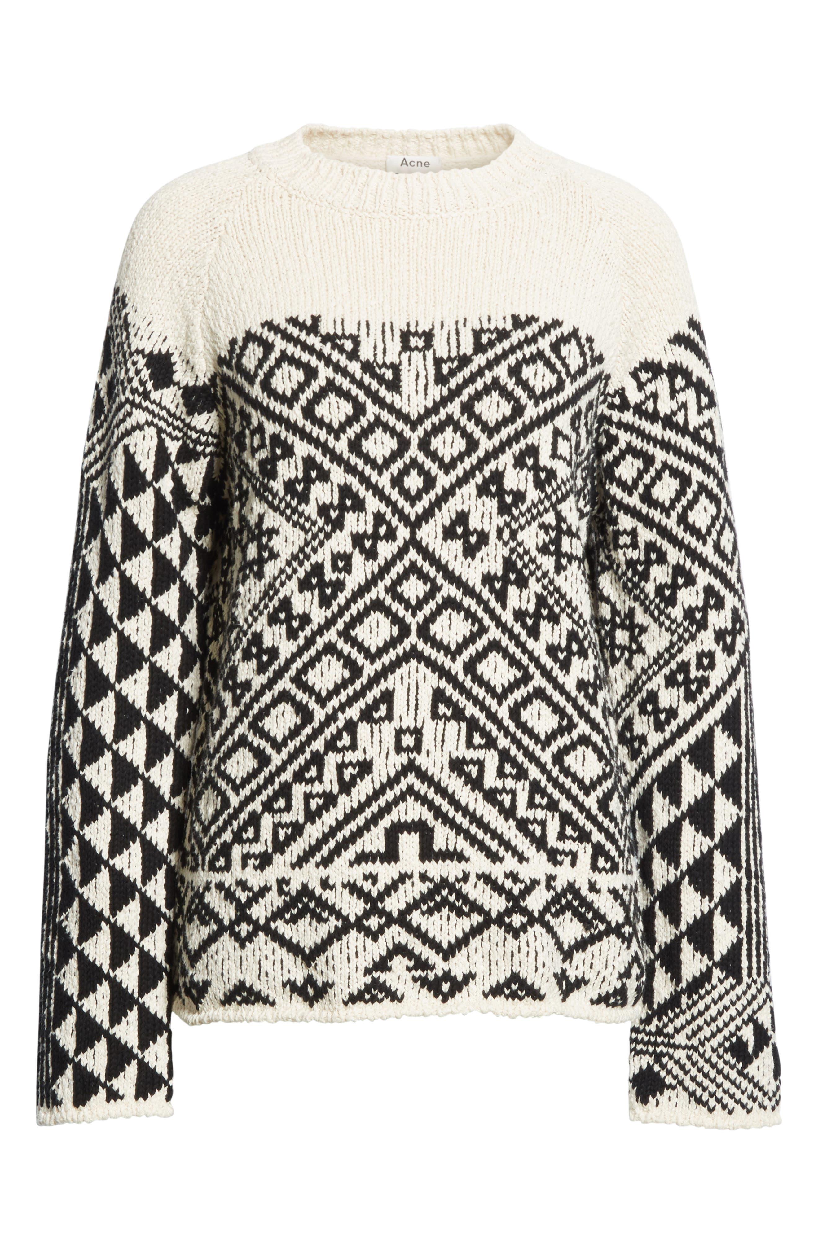 Rhia Jacquard Sweater,                             Alternate thumbnail 6, color,                             Off White/ Black