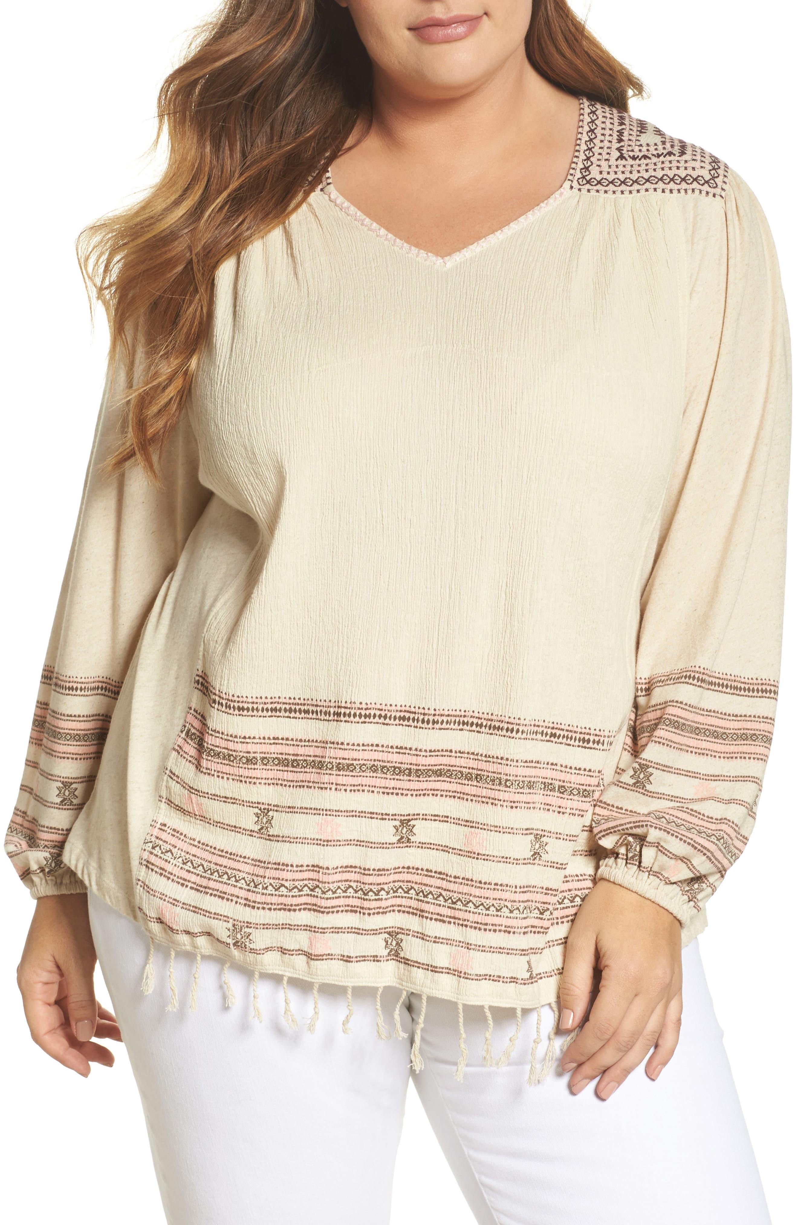 Lucky Brand Market Embroidered Peasant Top (Plus Size)