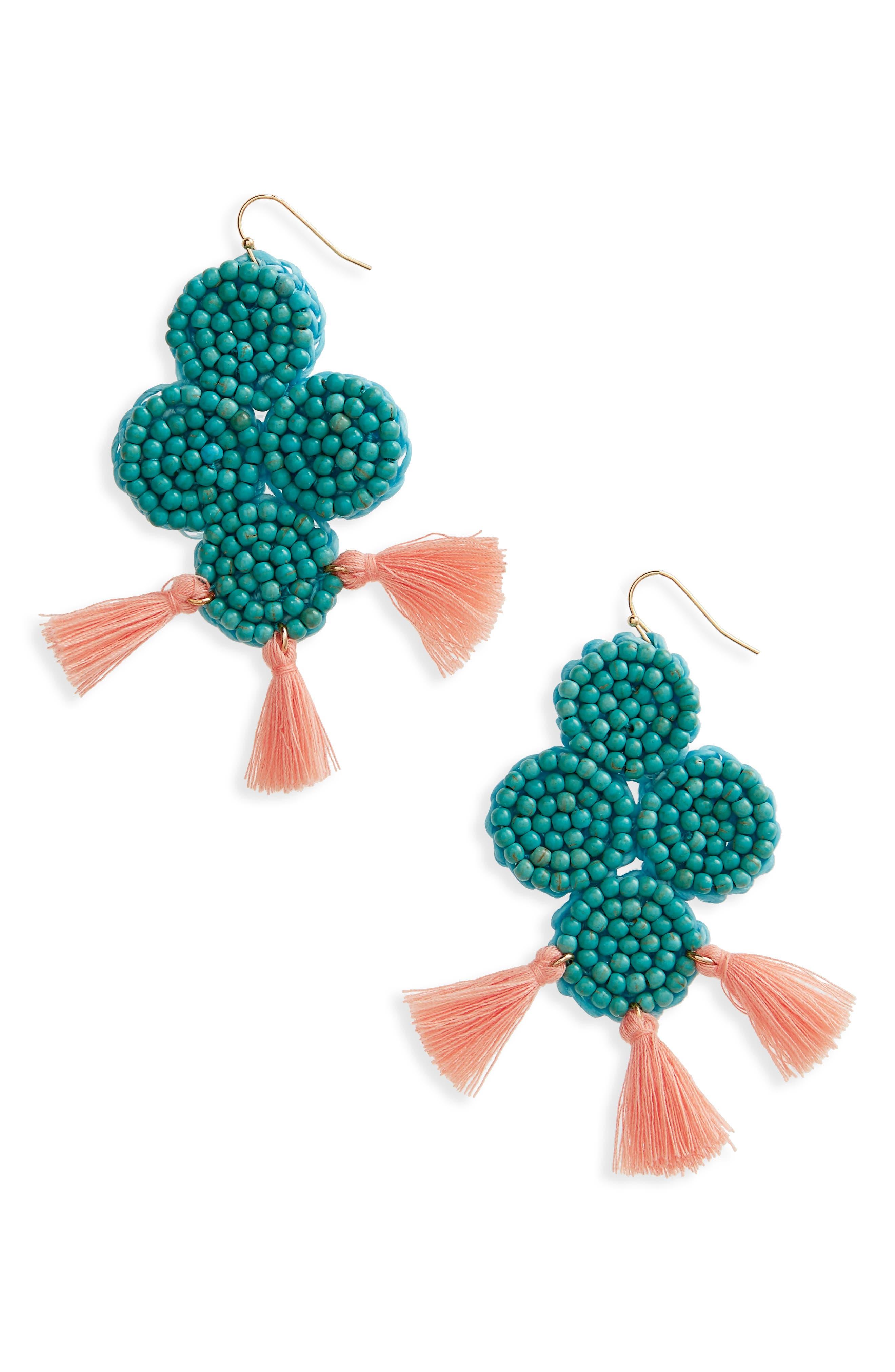 Beaded Statement Earrings,                         Main,                         color, Blue Multi