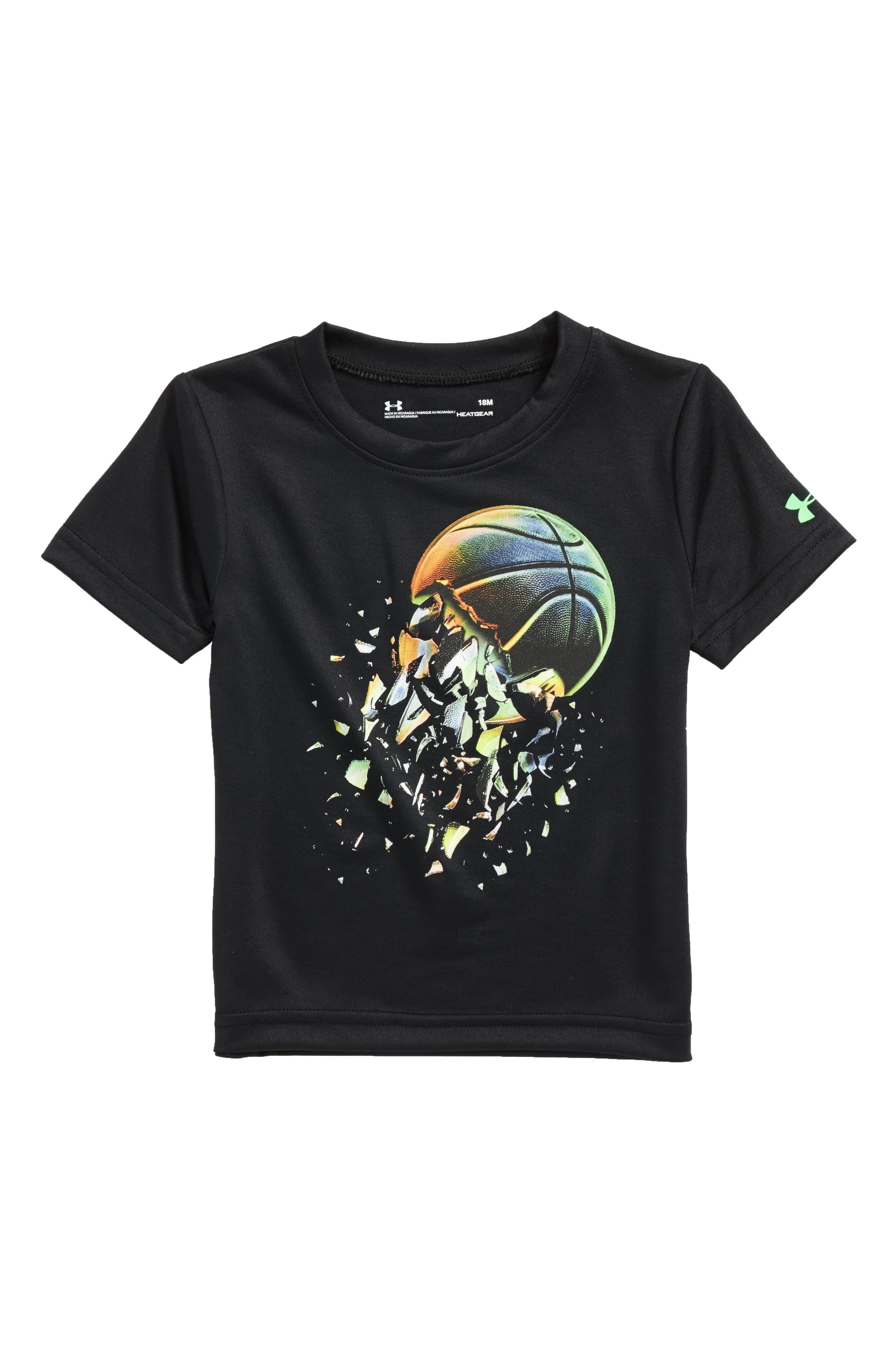 Basketball Explosion Graphic HeatGear<sup>®</sup> T-Shirt,                         Main,                         color, Black