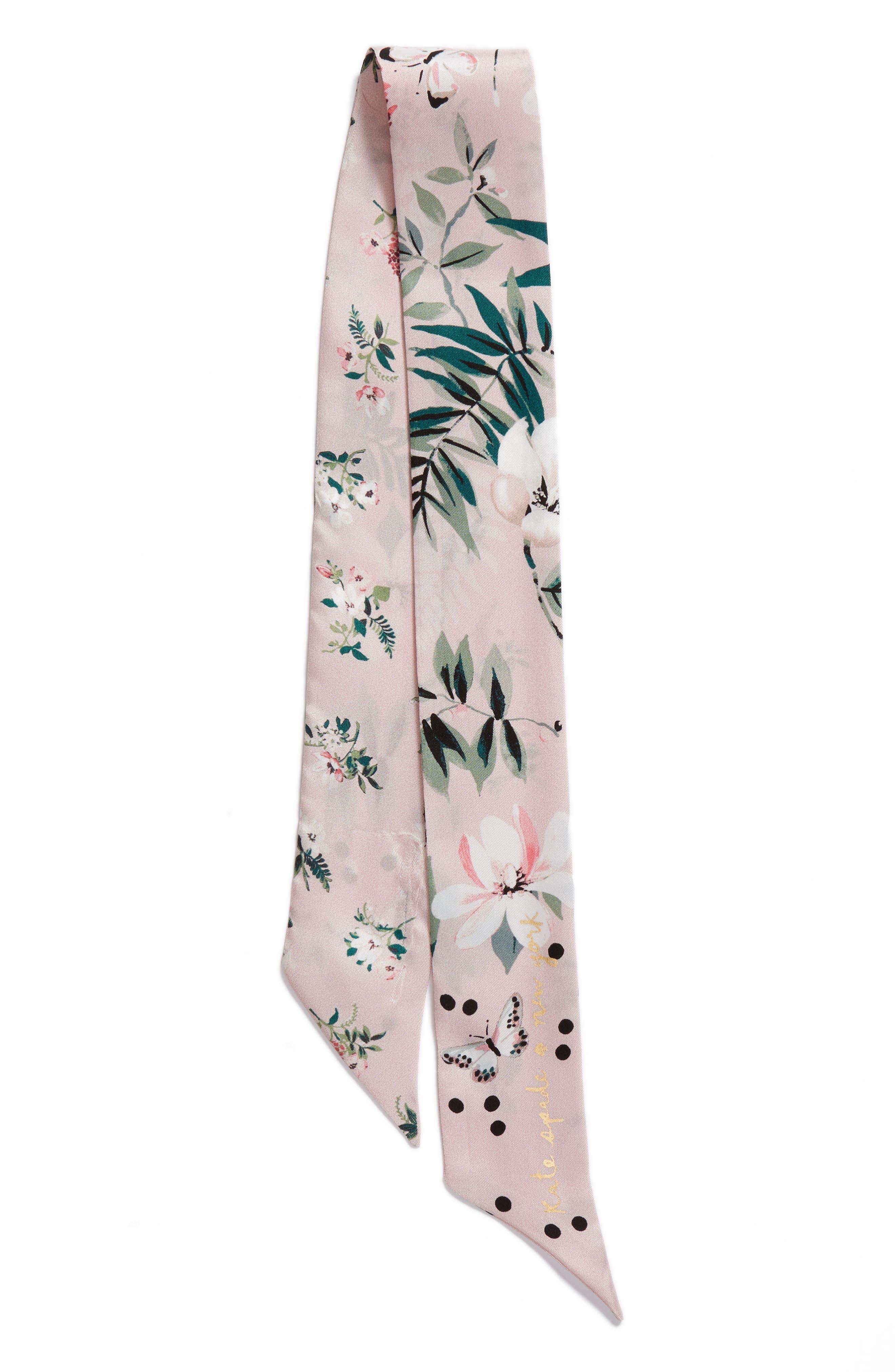 flora skinny silk scarf,                             Alternate thumbnail 2, color,                             Cameo Pink