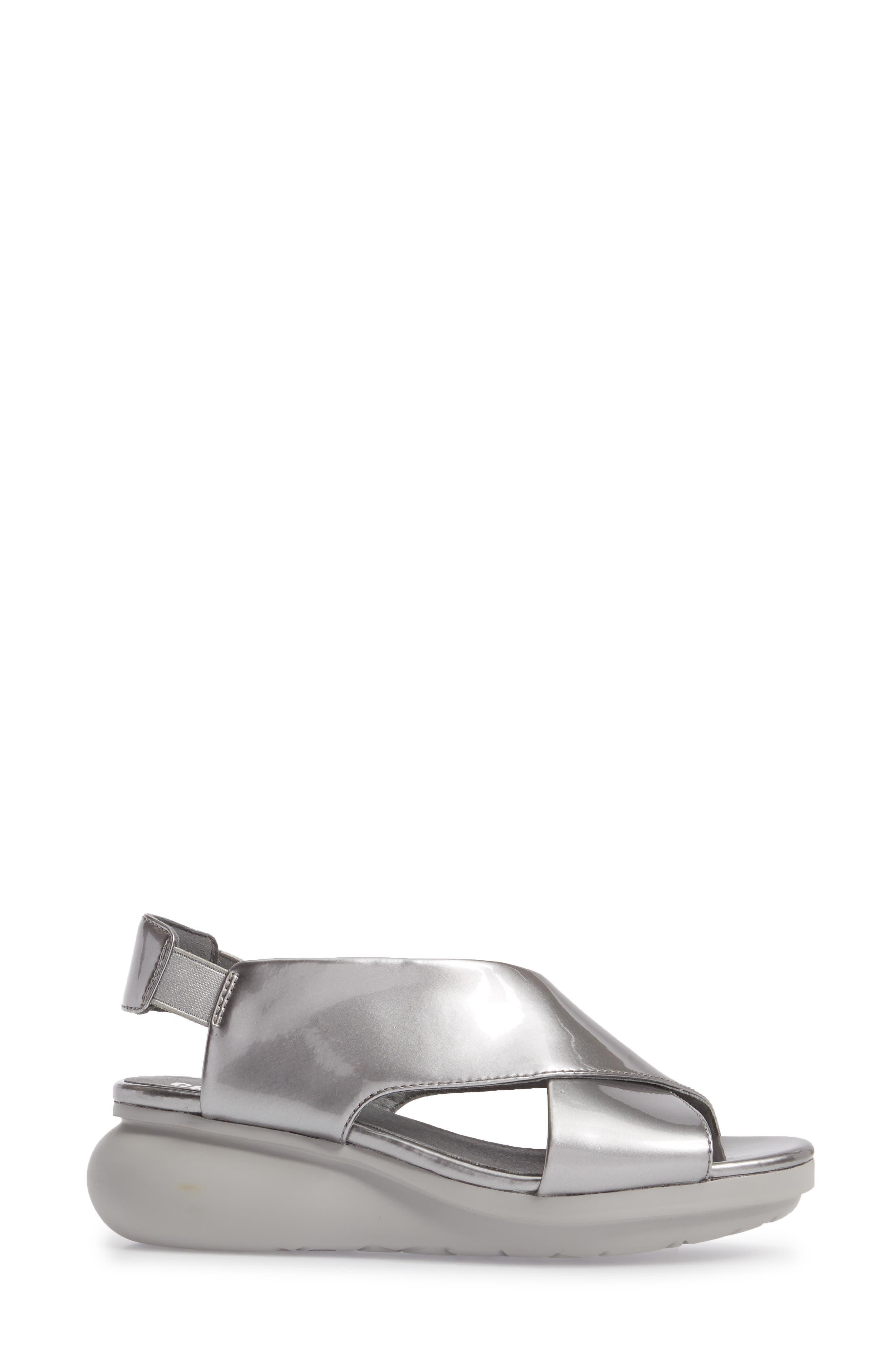 Balloon Wedge Sandal,                             Alternate thumbnail 3, color,                             Medium Gray Leather