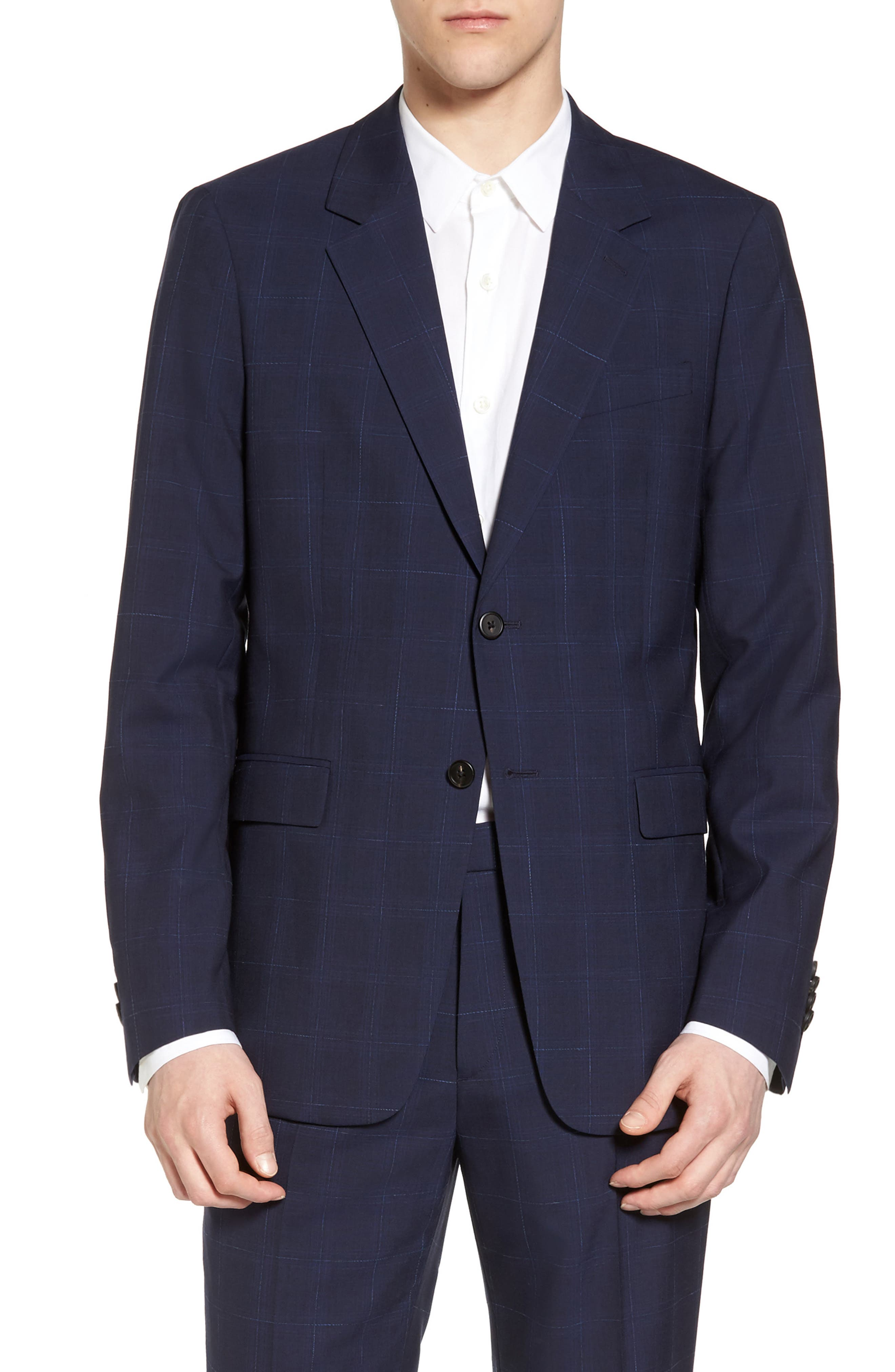 Theory Chambers Trim Fit Plaid Sport Coat