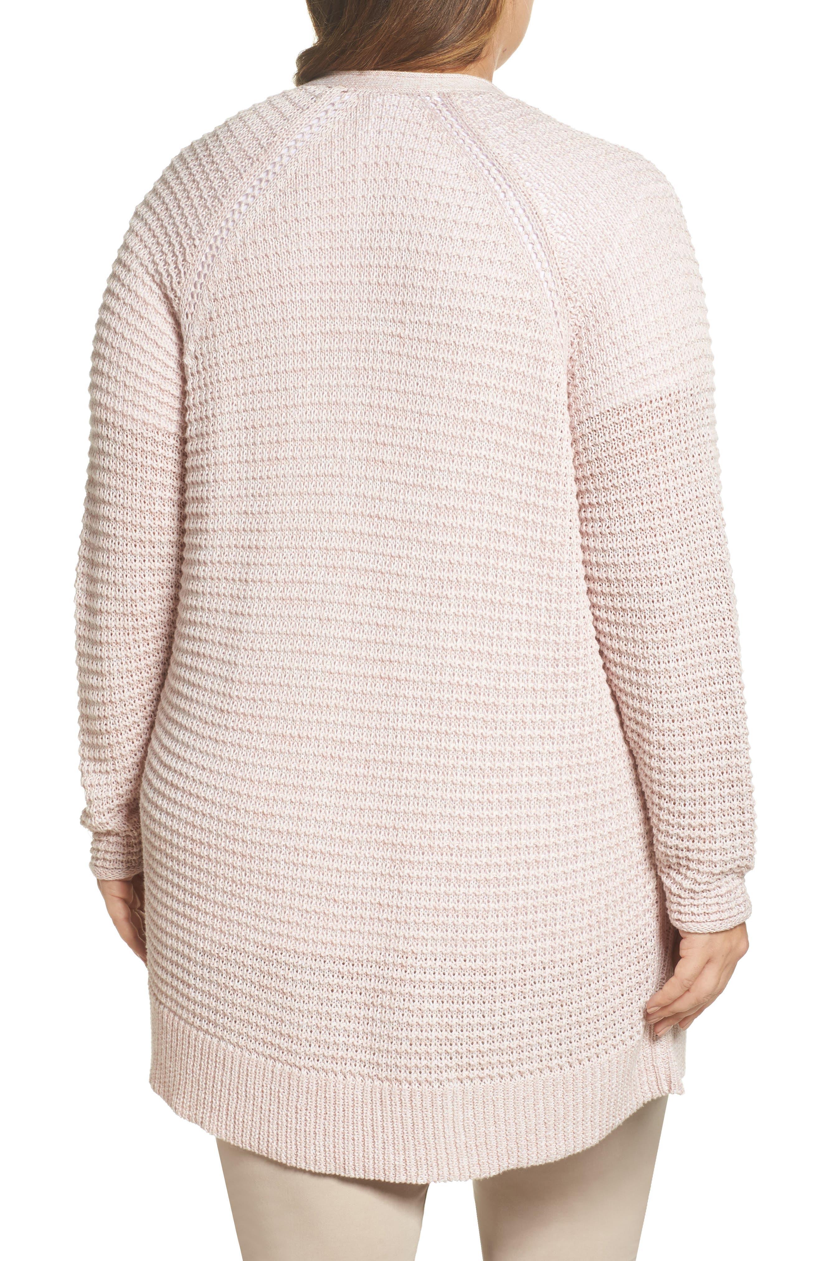 Easy Knit Cardigan,                             Alternate thumbnail 2, color,                             Beige Linen Fern Marl