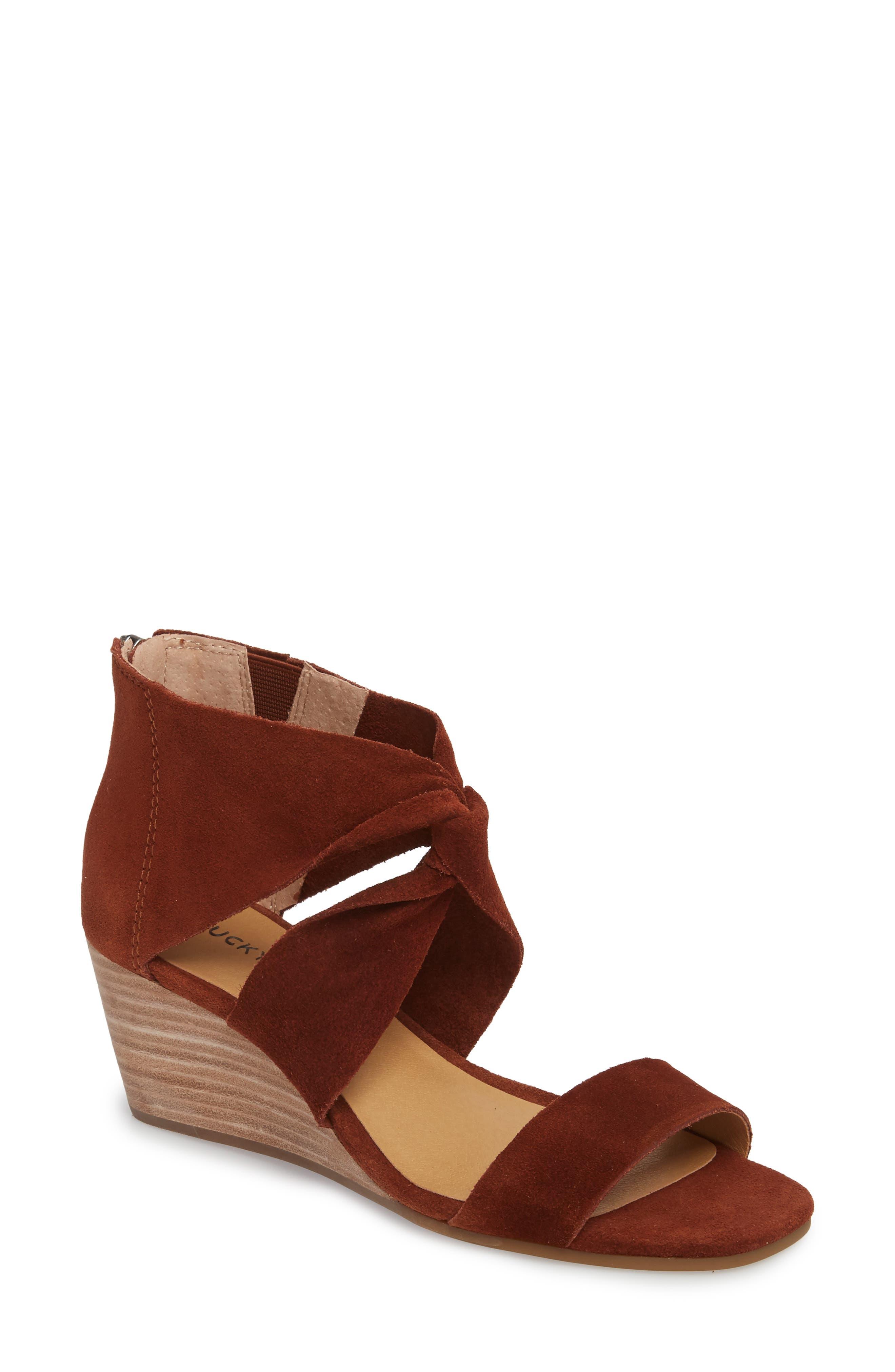 Tammanee Wedge Sandal,                         Main,                         color, Rye Suede