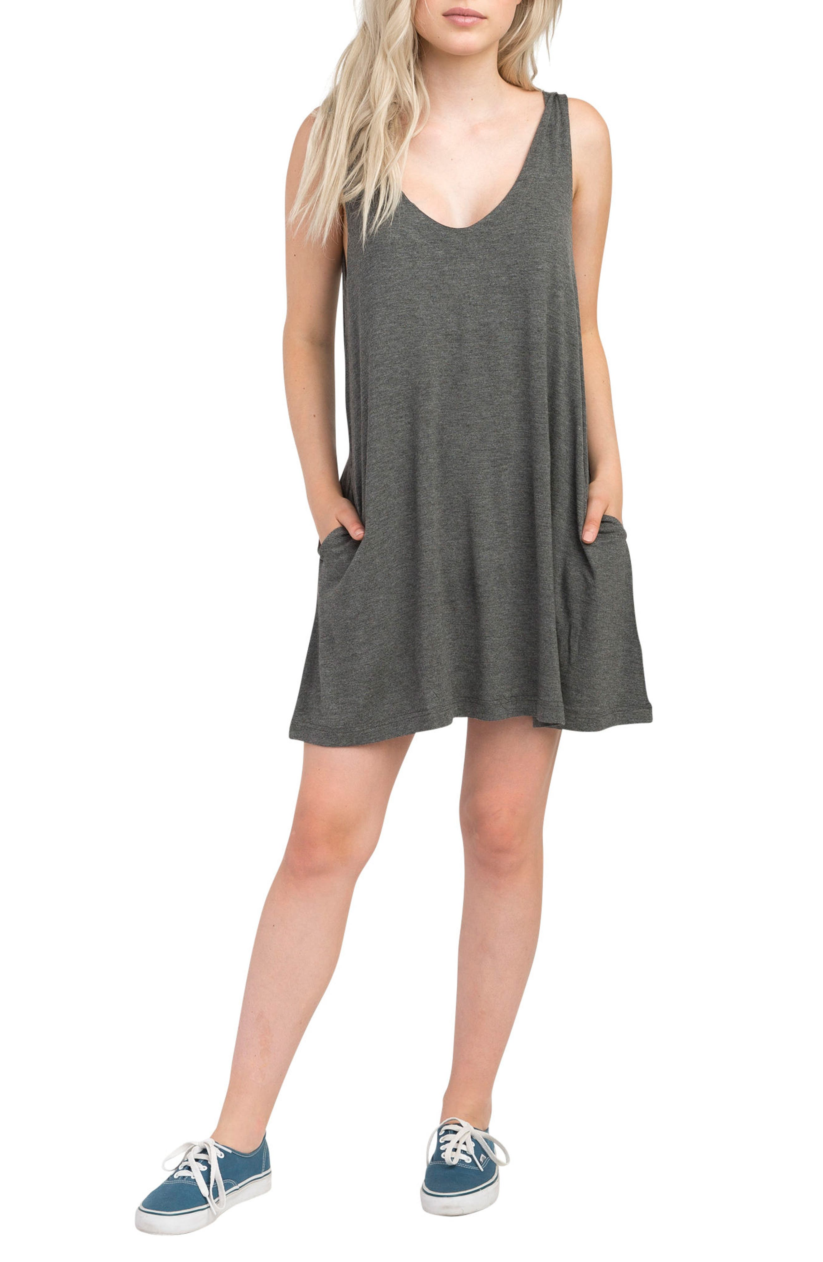 Chances Swing Dress,                             Main thumbnail 1, color,                             Charcoal Heather