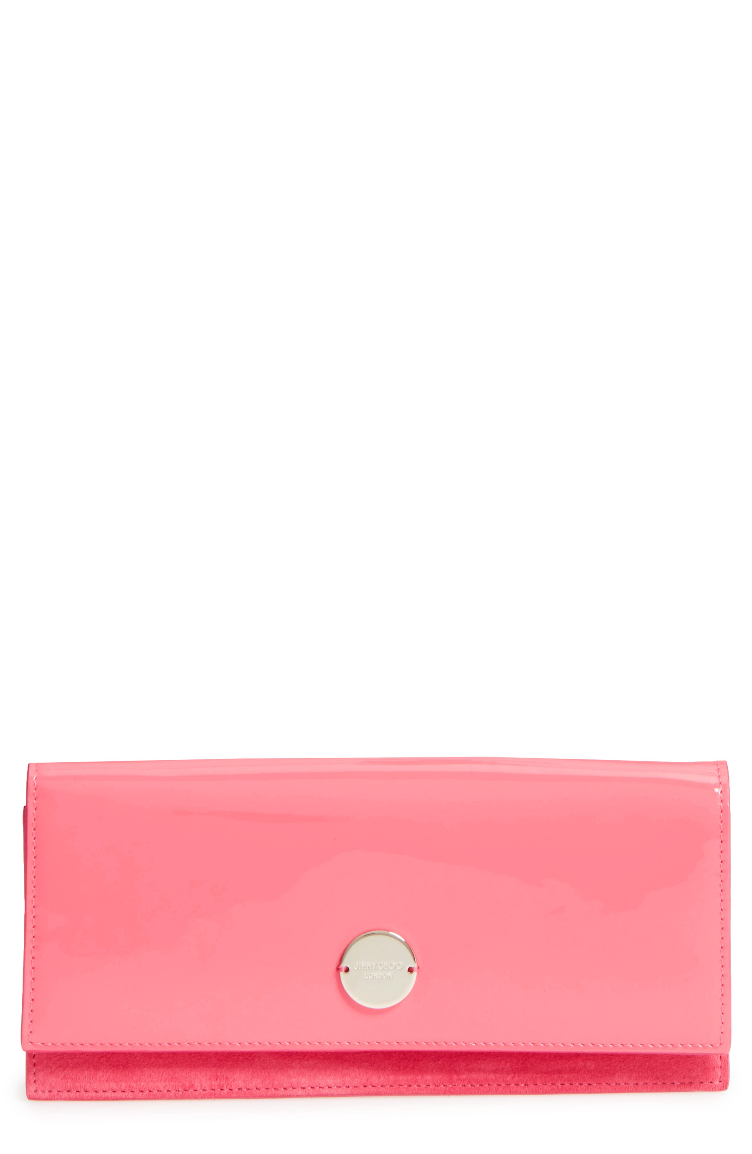 Fie Suede & Patent Leather Clutch,                         Main,                         color, Flamingo