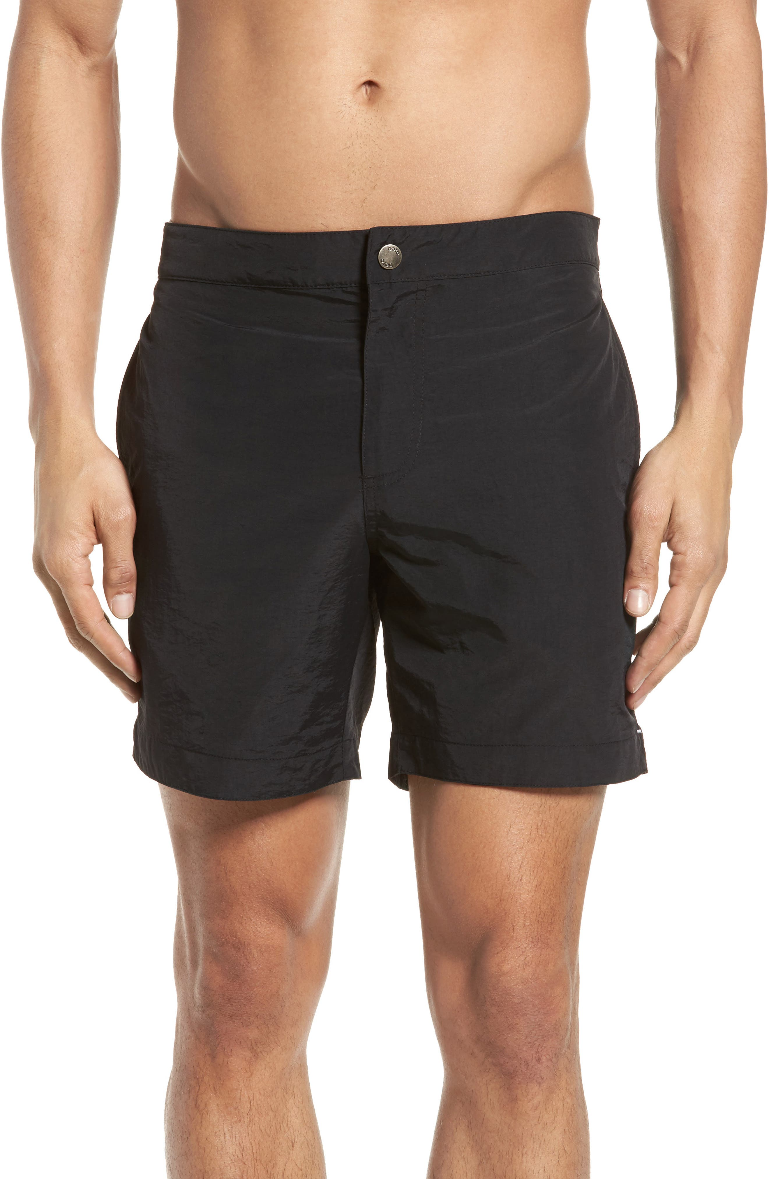 'Aruba' Tailored Fit Swim Trunks,                             Main thumbnail 1, color,                             Midnight Black Solid