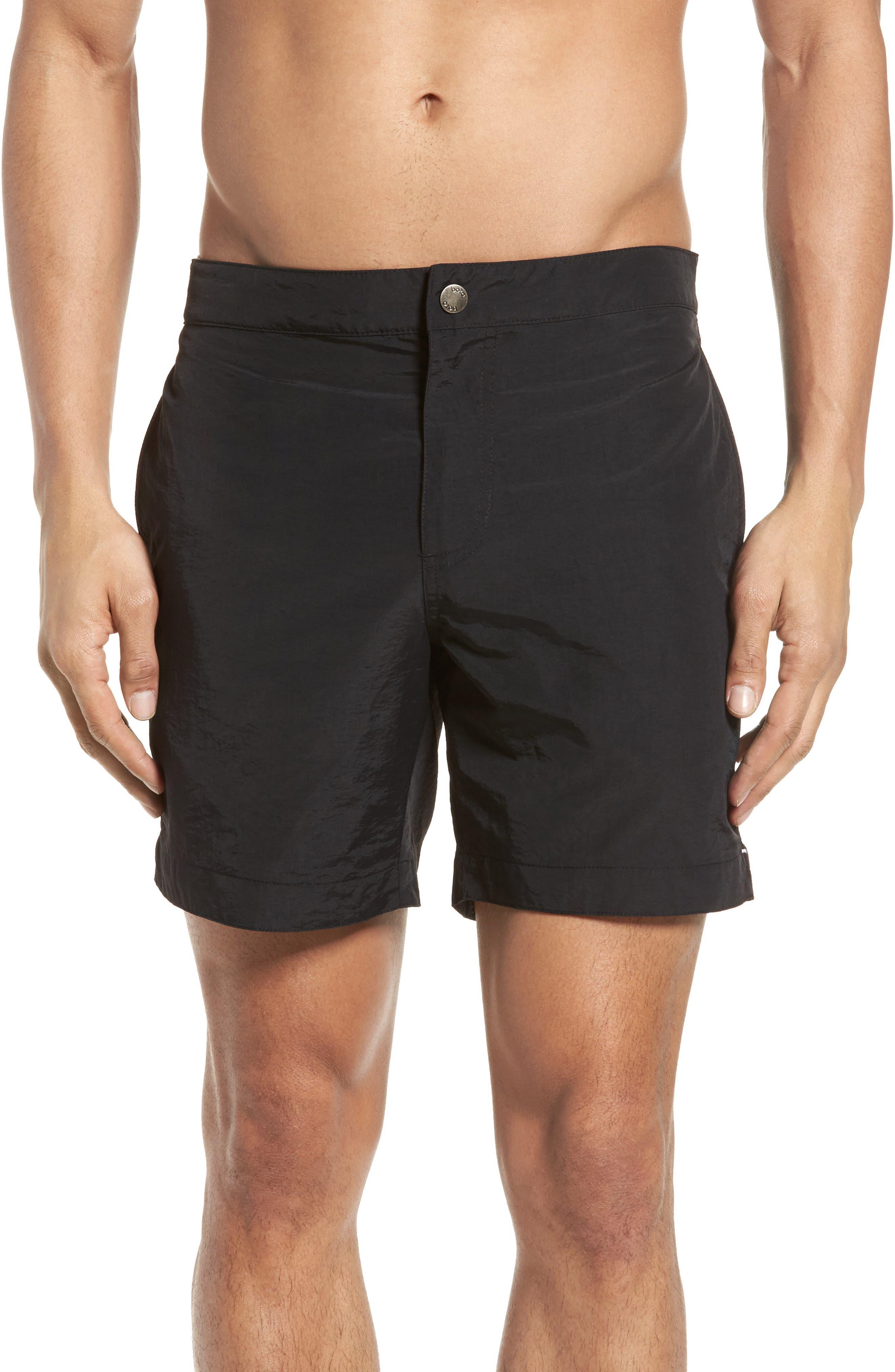 'Aruba' Tailored Fit Swim Trunks,                         Main,                         color, Midnight Black Solid