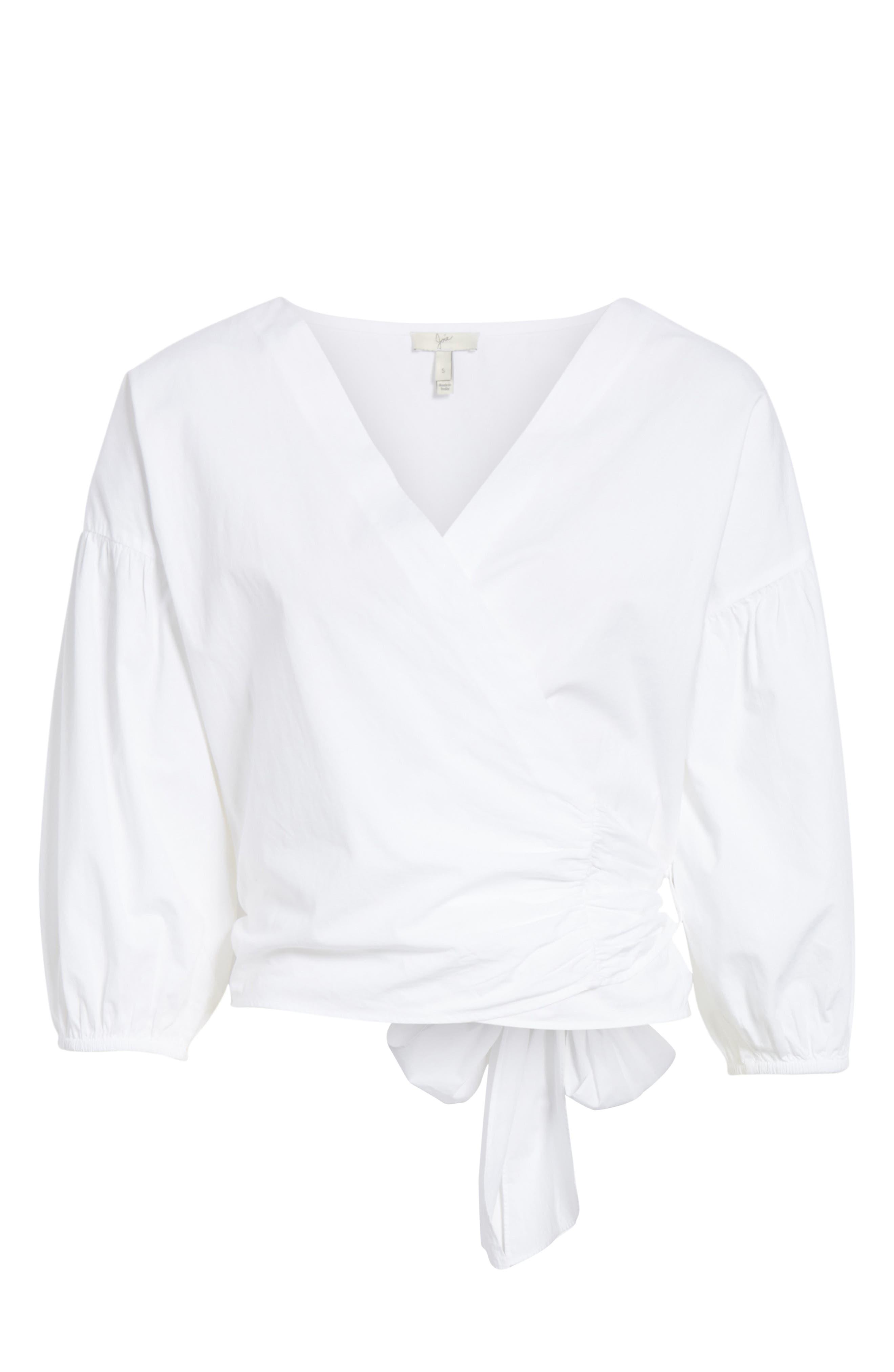 Hausu Bow Back Blouse,                             Alternate thumbnail 6, color,                             Clean White