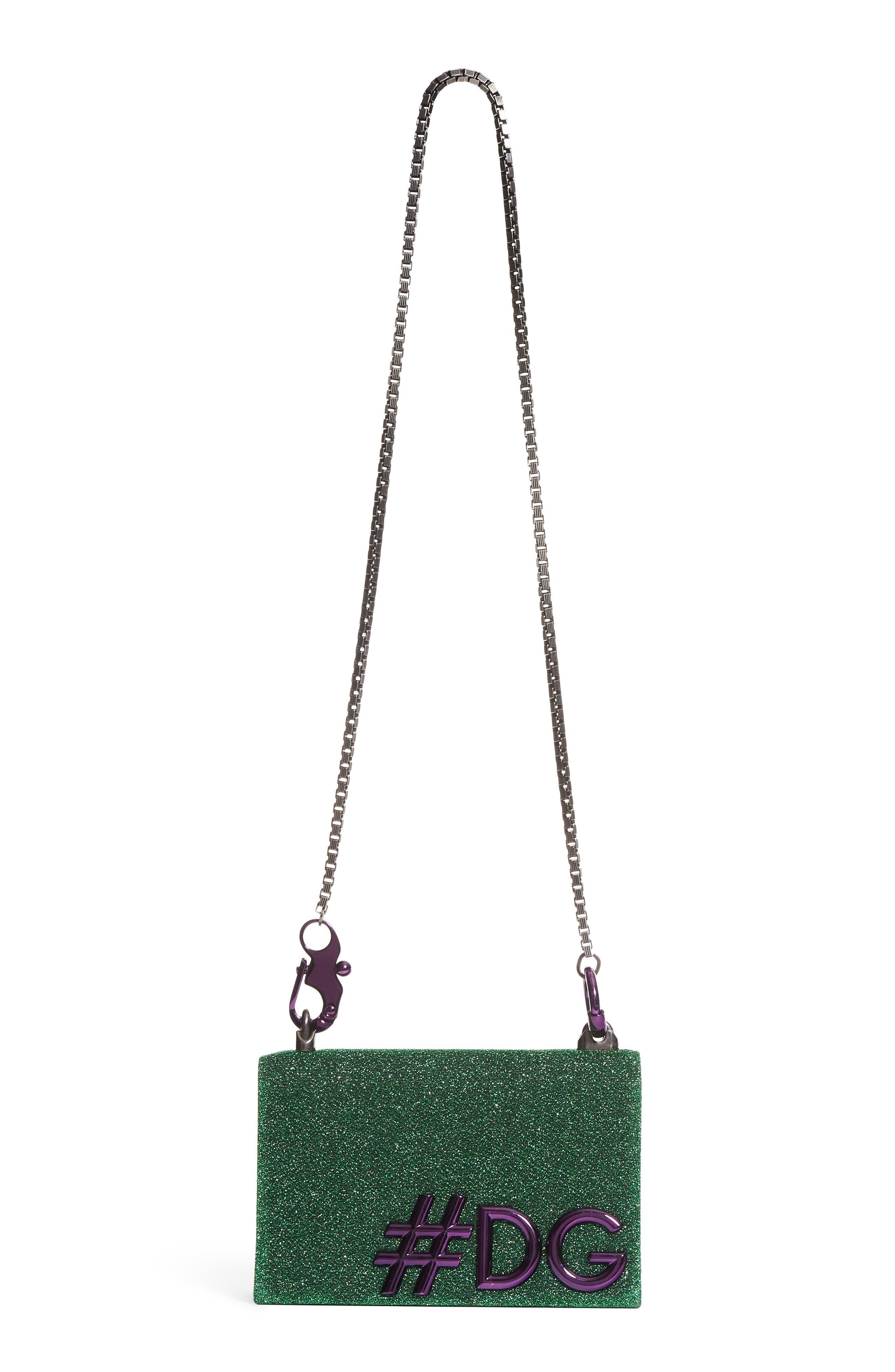 DG Girls Metallic Shoulder Bag,                             Main thumbnail 1, color,                             Green