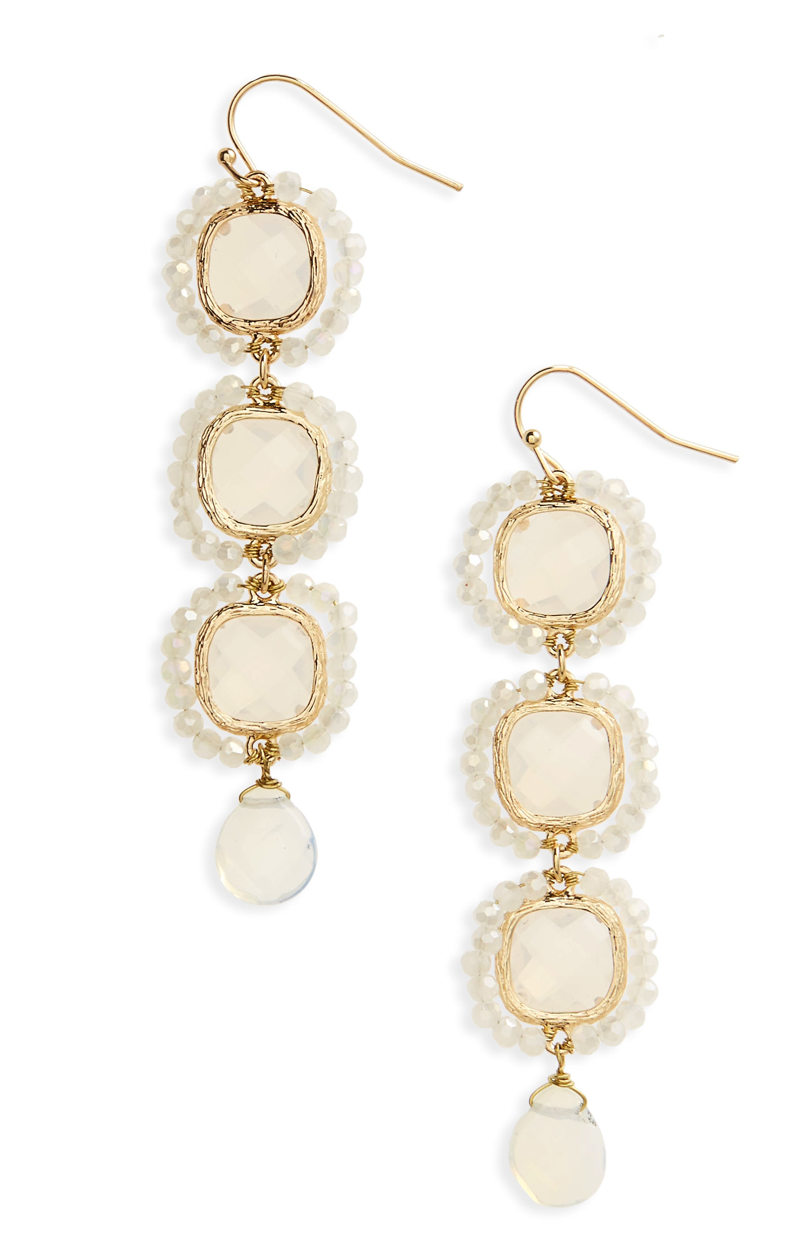 Crystal Linear Drop Earrings,                         Main,                         color, White