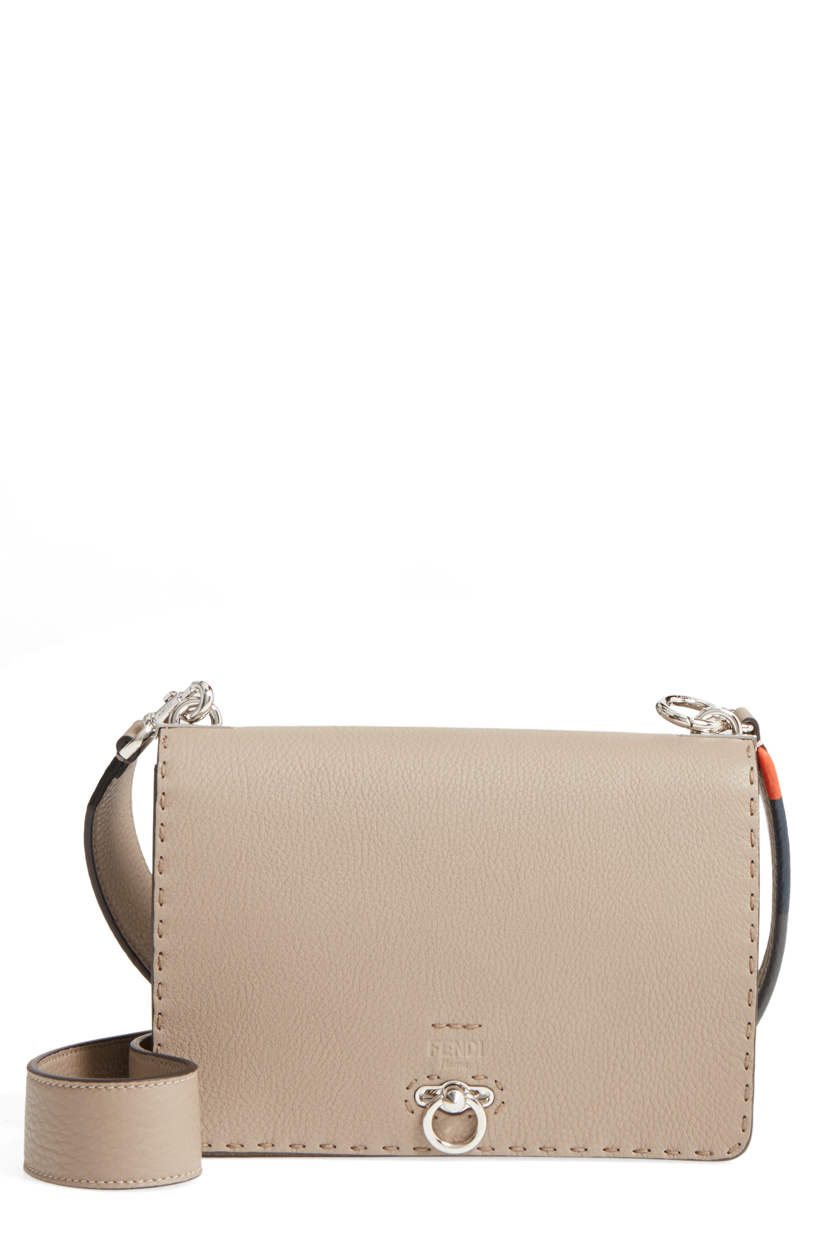 Pebbled Leather Messenger Bag,                         Main,                         color, Beige