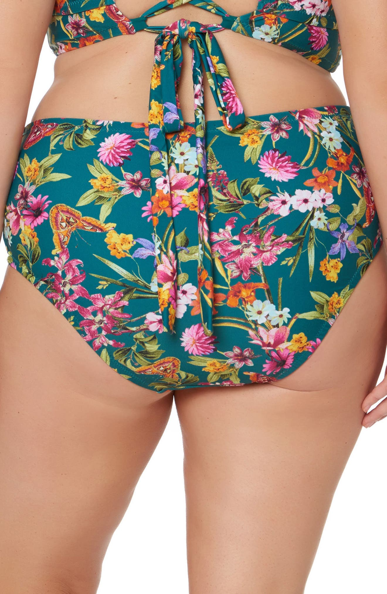 Floral Print Bikini Bottoms,                             Alternate thumbnail 2, color,                             Pine