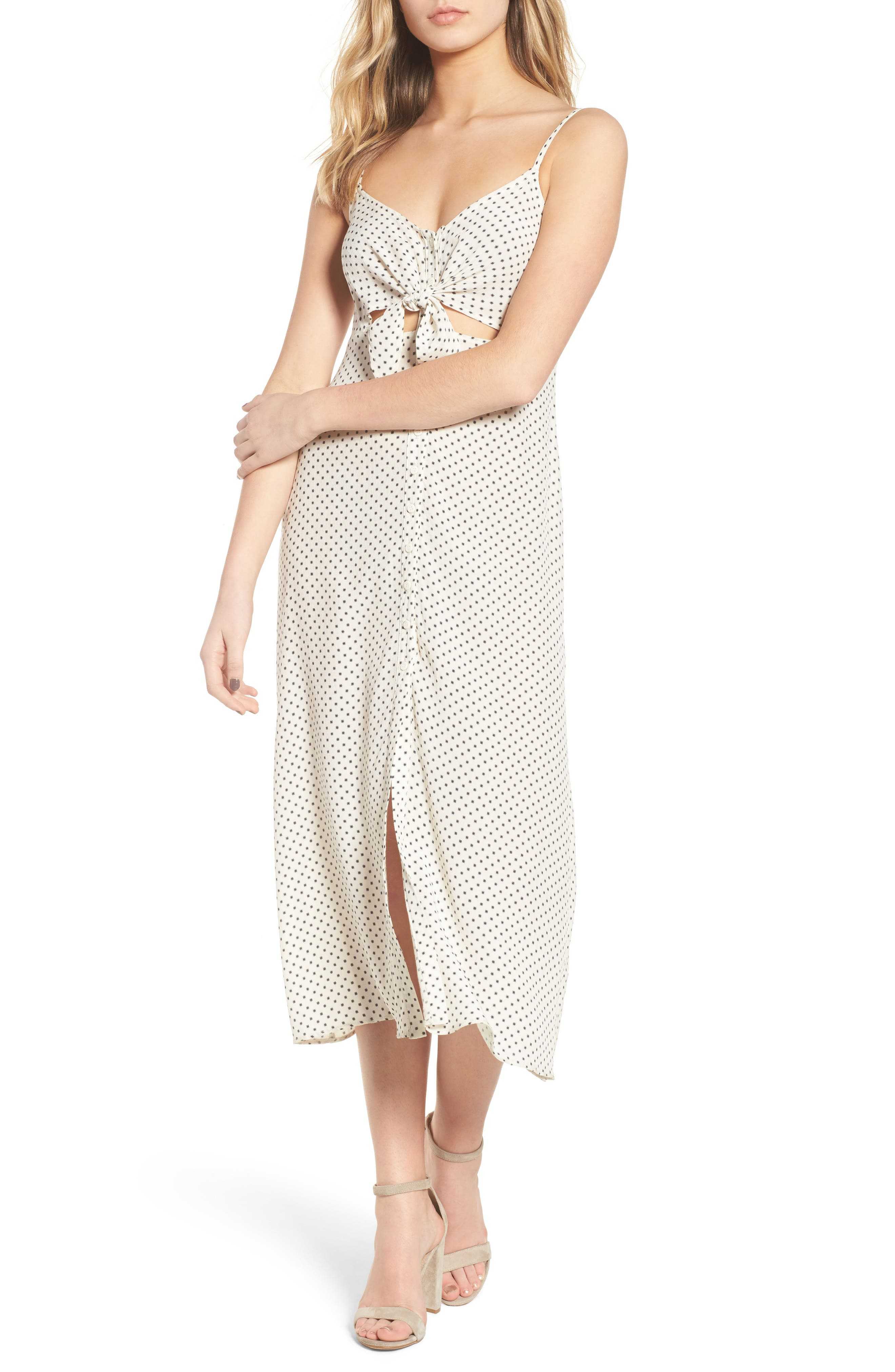 Tie Front Midi Dress,                         Main,                         color, Ivory Dot