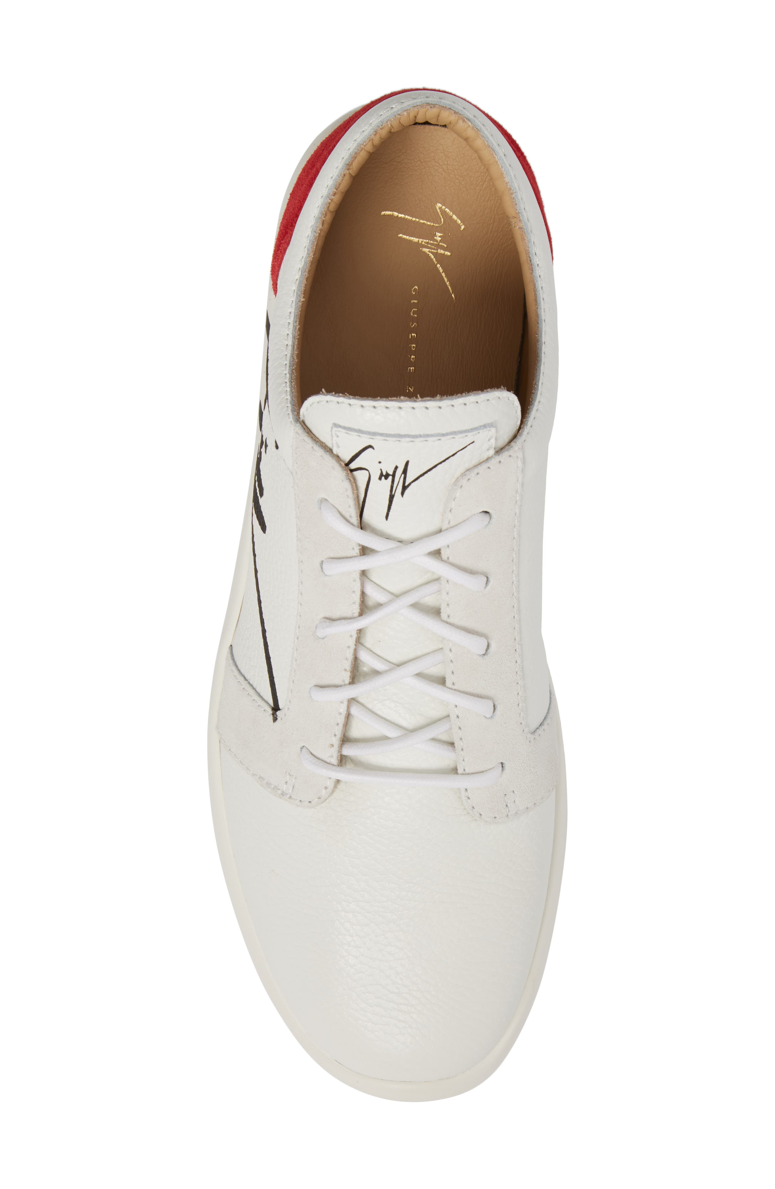 Signature Sneaker,                             Alternate thumbnail 5, color,                             White W/ Red Counter