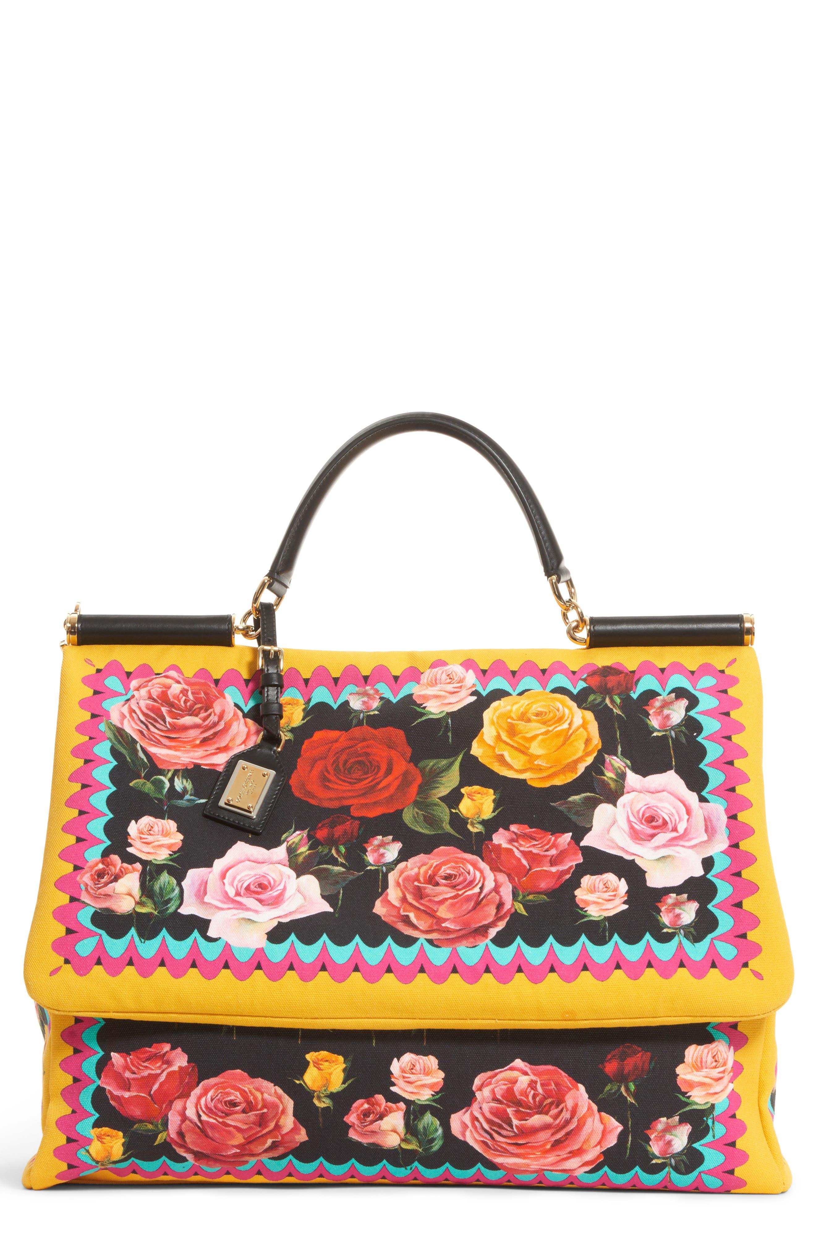 Dolce&Gabbana Miss Sicily Floral Canvas Satchel