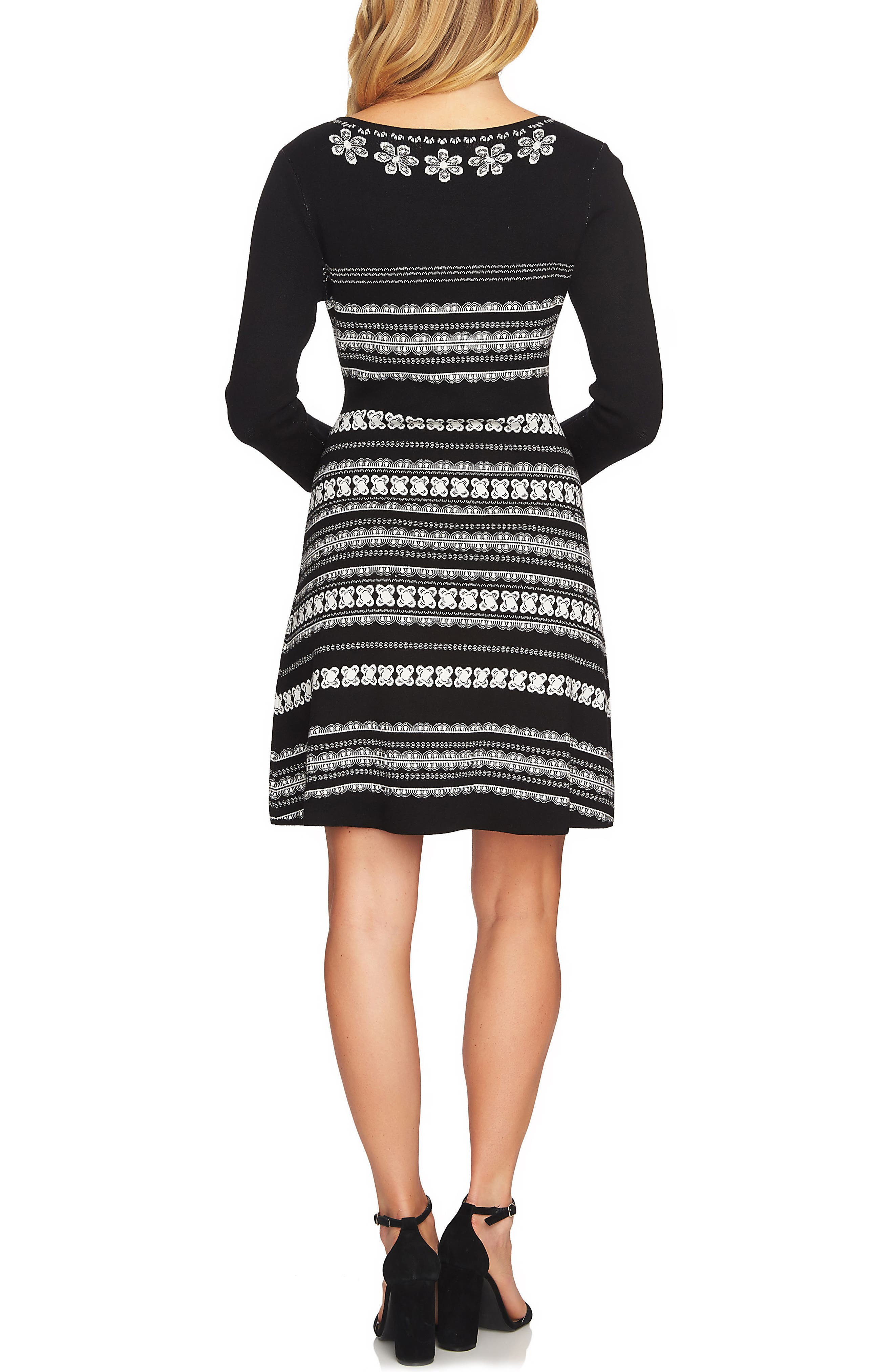 A-Line Jacquard Knit Dress,                             Alternate thumbnail 2, color,                             Rich Black