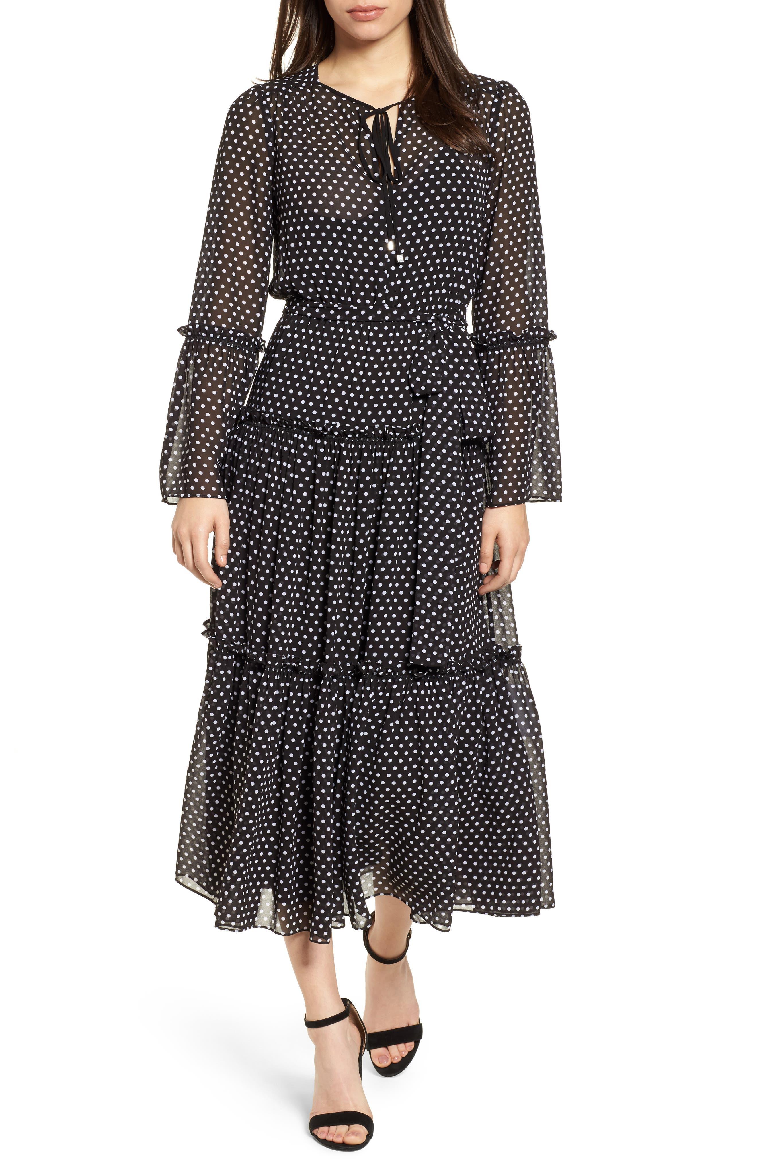 Tiered Dot Boho Dress,                             Main thumbnail 1, color,                             Black/ White