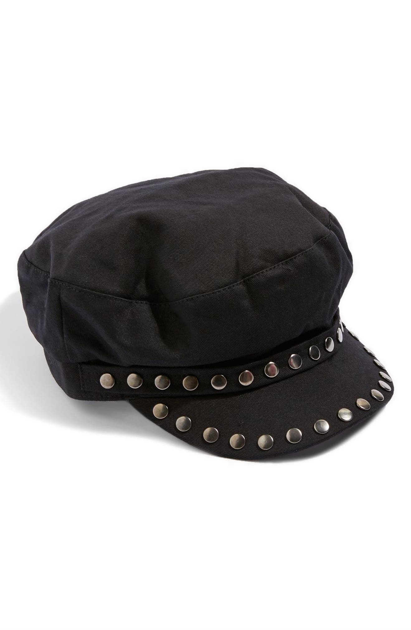 Studded Baker Boy Cap,                             Main thumbnail 1, color,                             Black Multi
