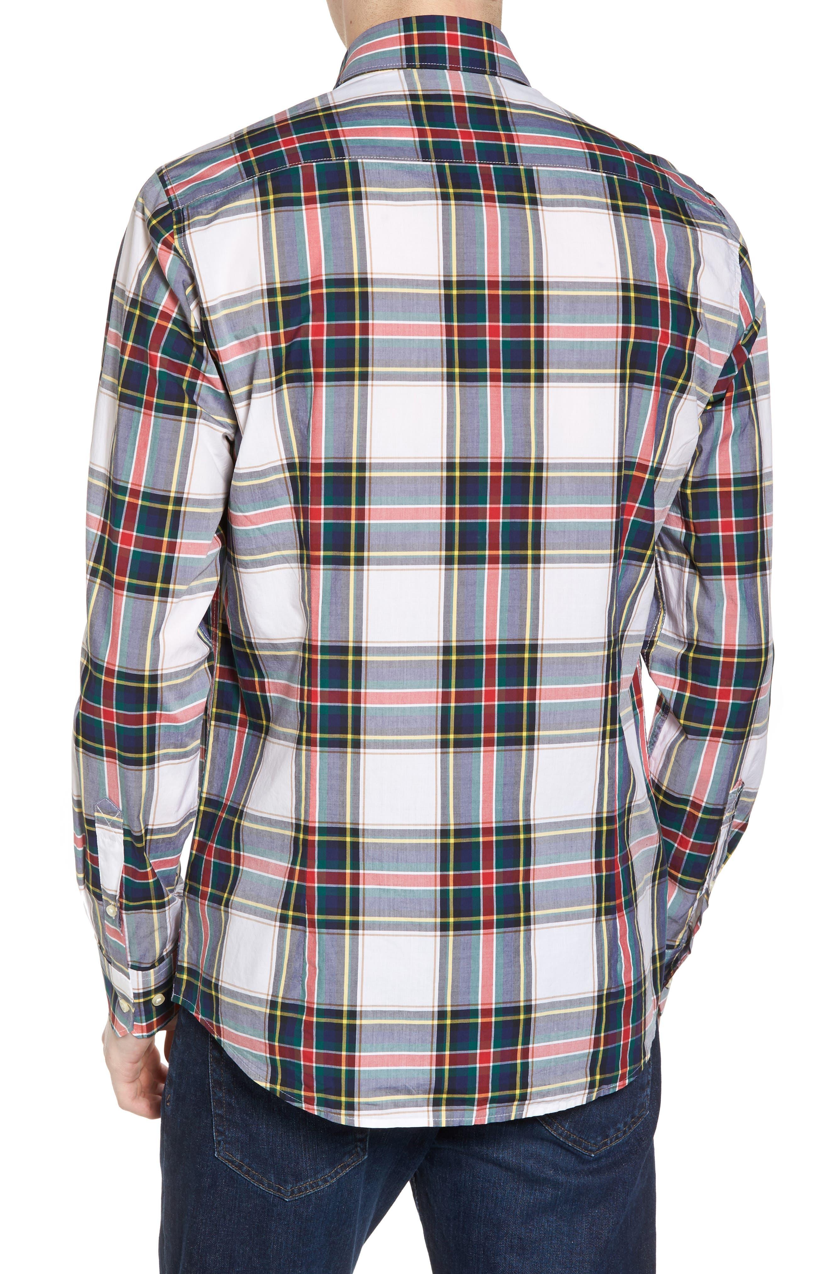 Oscar Trim Fit Plaid Sport Shirt,                             Alternate thumbnail 2, color,                             White