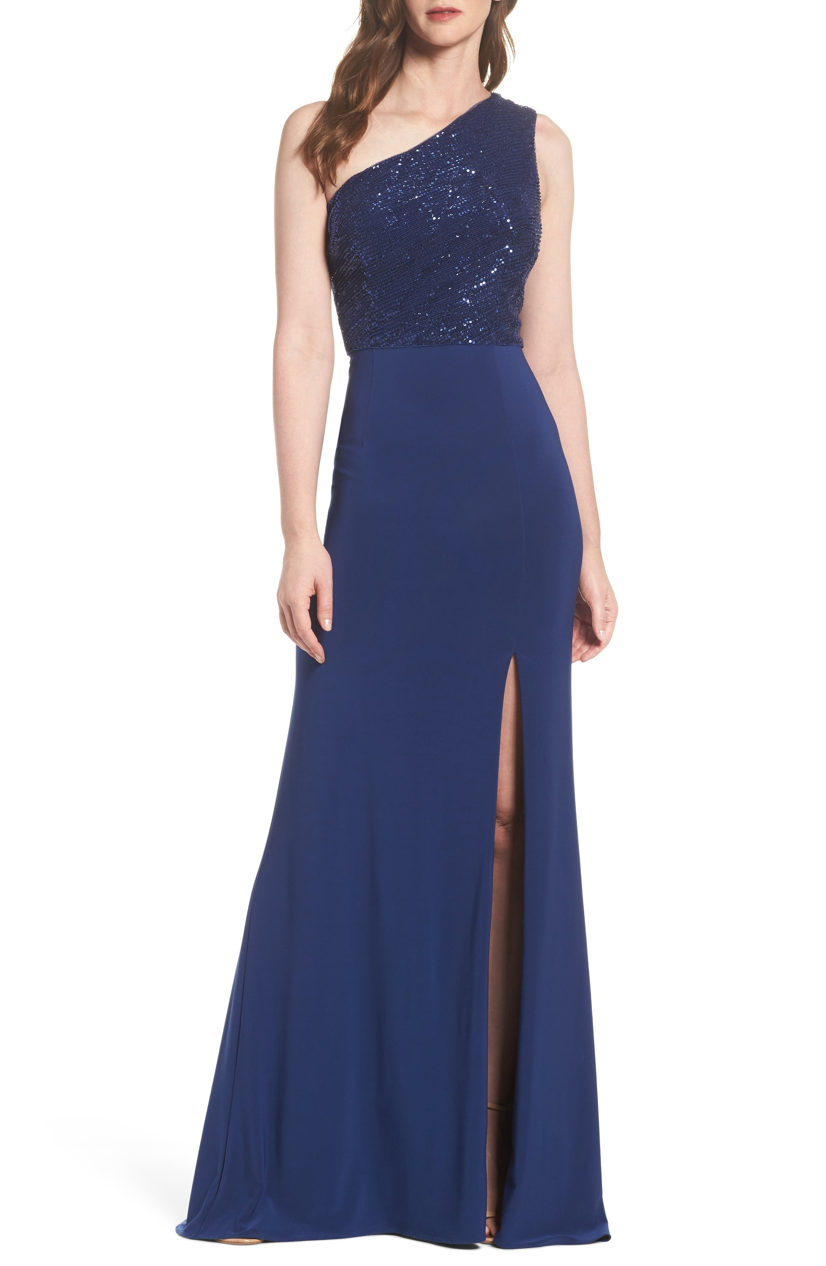 Adrianna Papell Sequin & Jersey One-Shoulder Gown