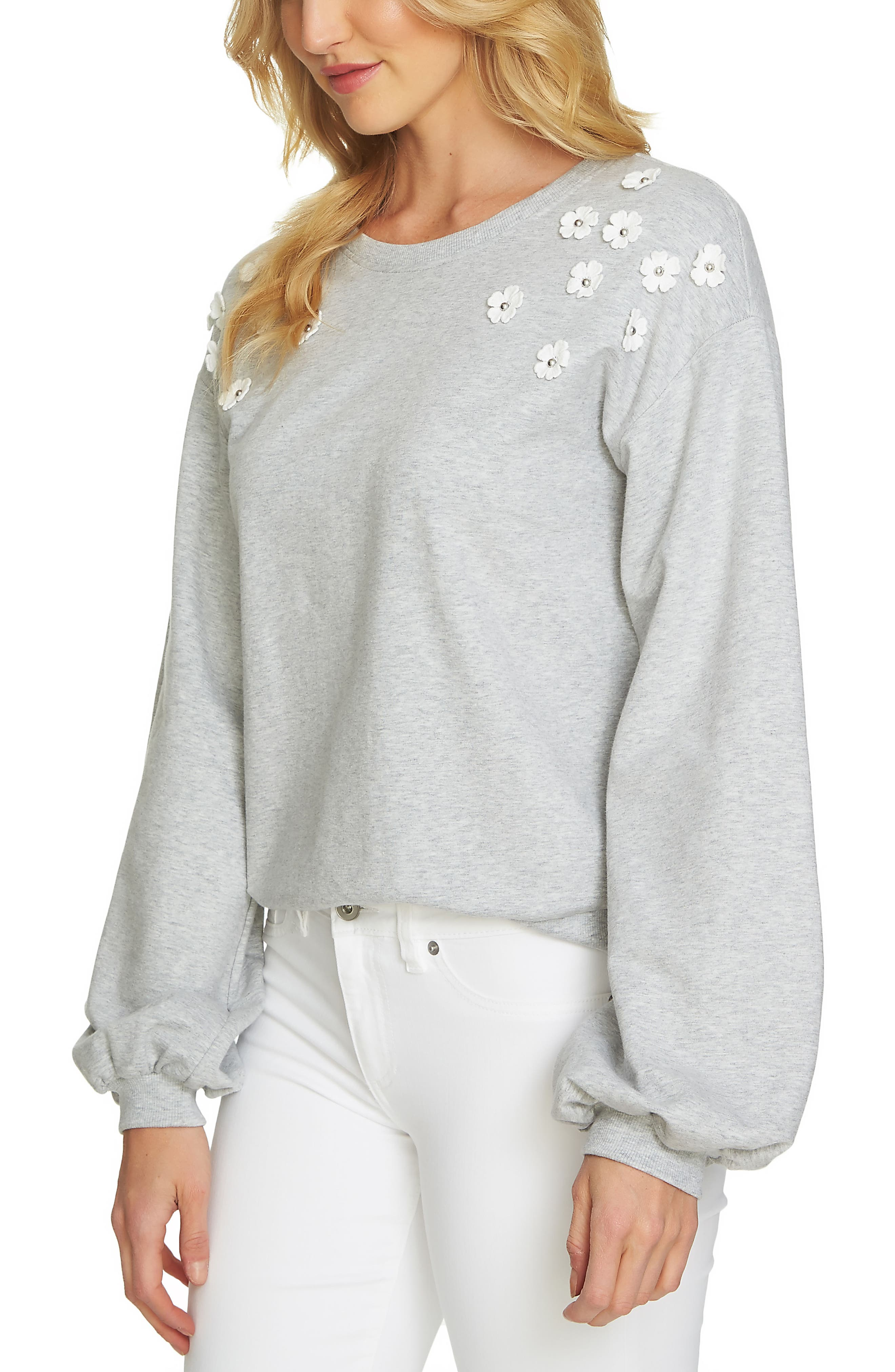 Embellished Sweatshirt,                         Main,                         color, Heather Grey