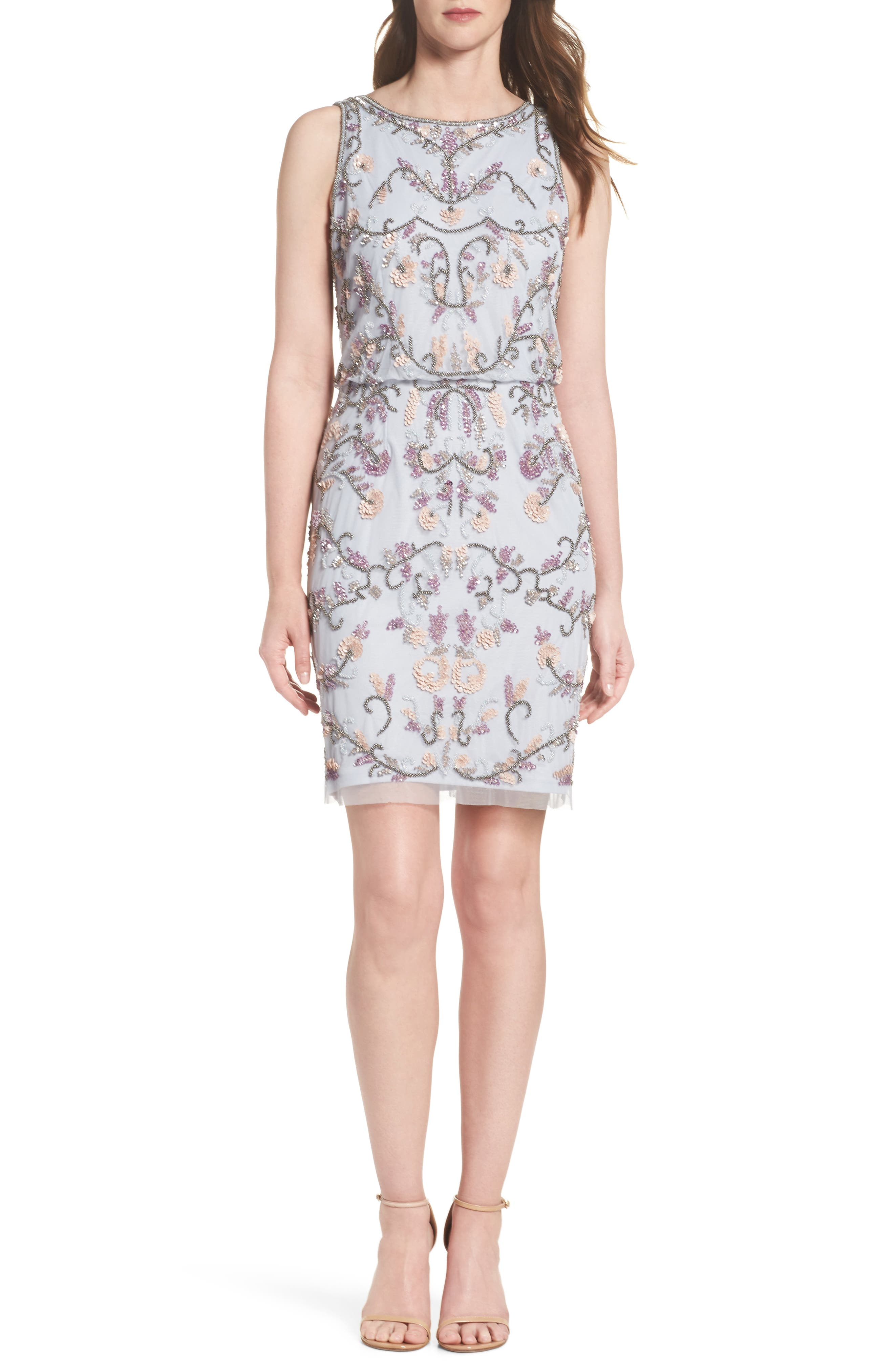Embellished Blouson Cocktail Dress,                         Main,                         color, Serenity