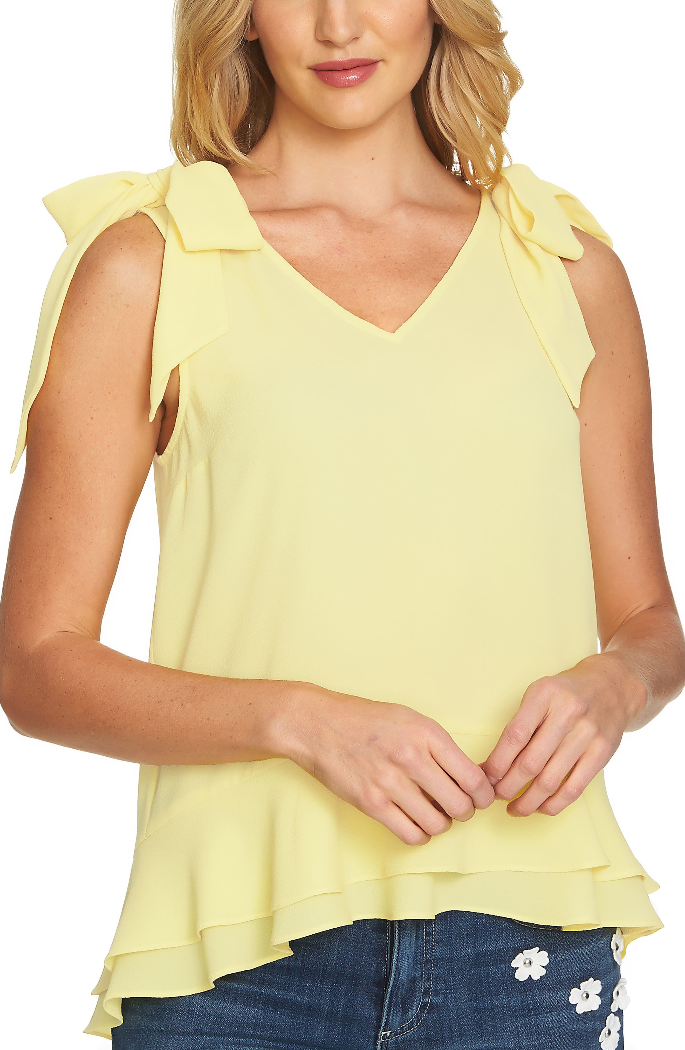 Tie Shoulder Layered Blouse,                         Main,                         color, Finch Yellow
