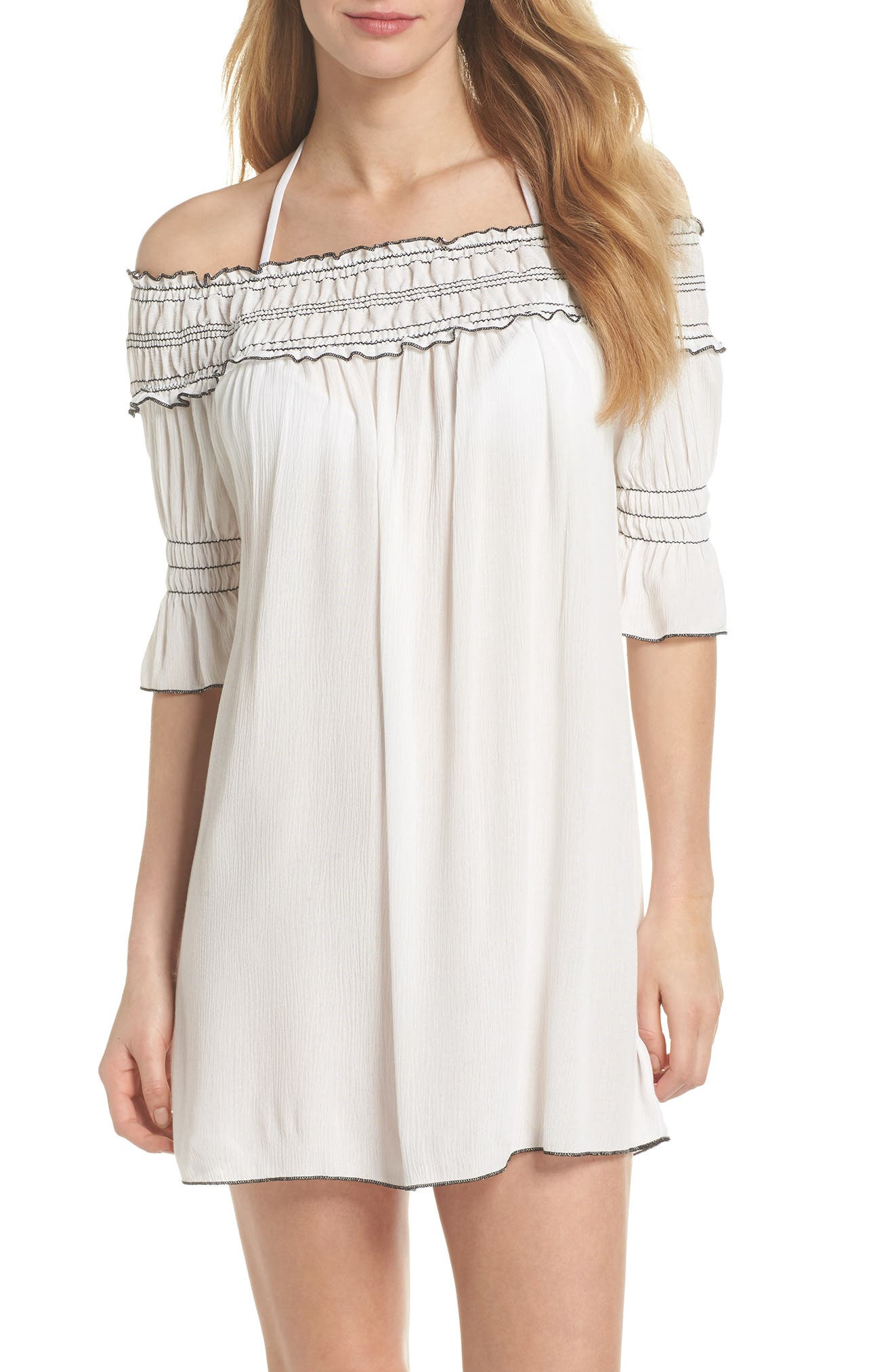 Nightingale Off the Shoulder Cover-Up Dress,                             Main thumbnail 1, color,                             White