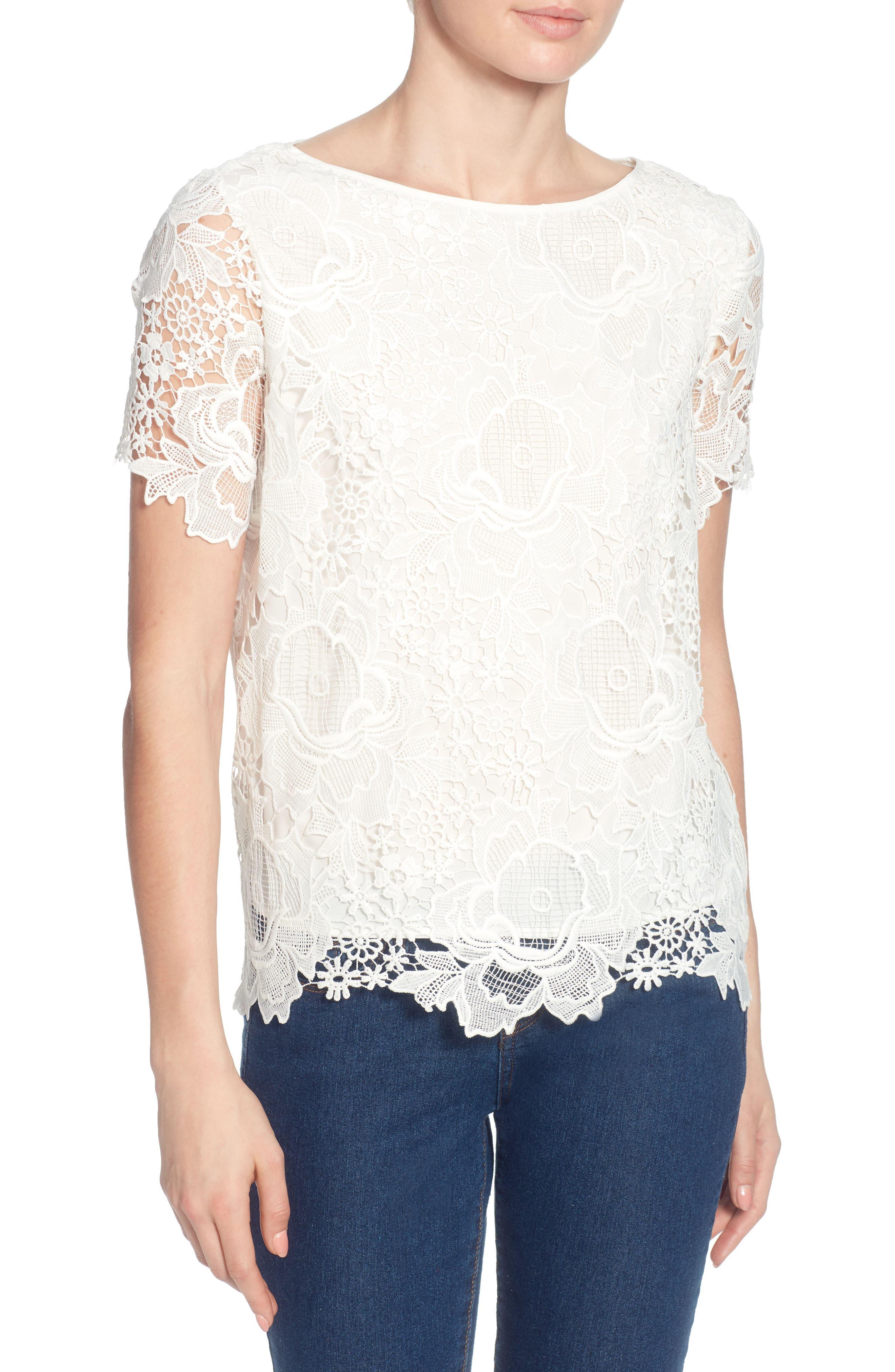 Cassie Lace Top,                         Main,                         color, Bright White